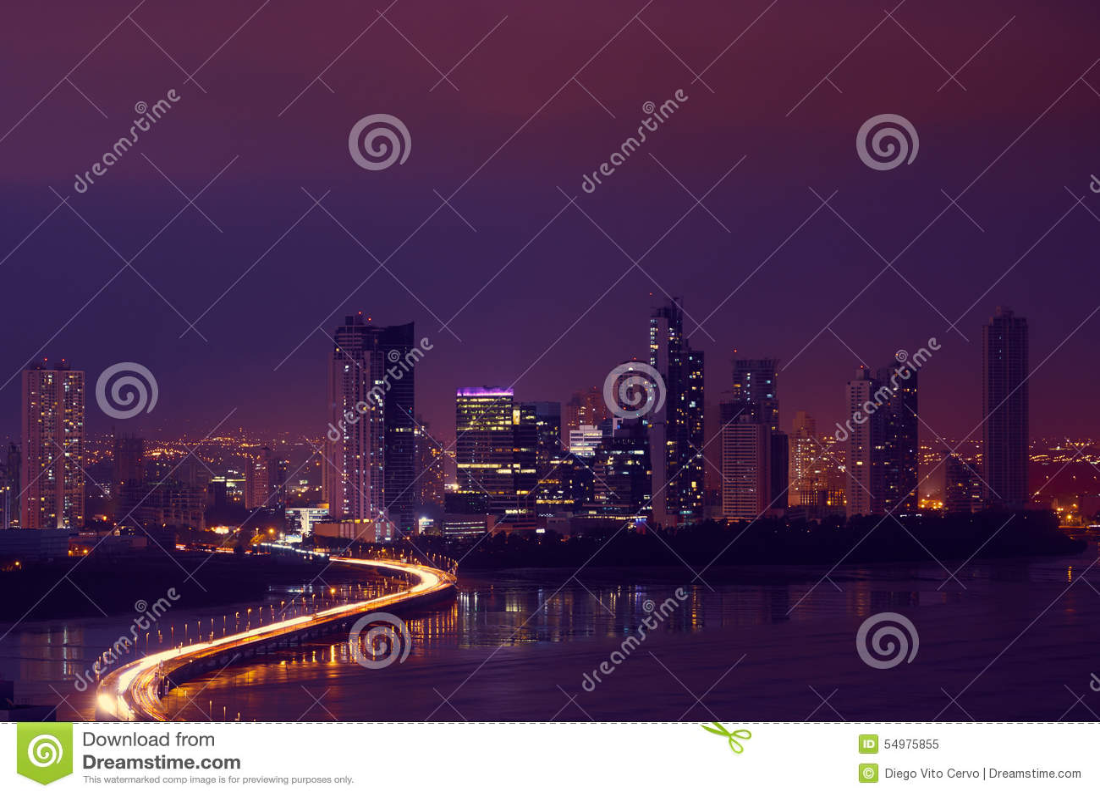Panama City Night Skyline With Car Traffic On Highway