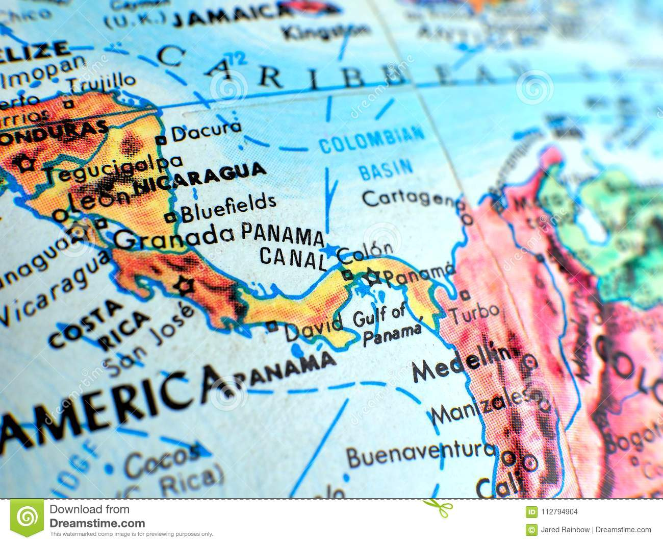 Picture of: Panama Focus Macro Shot On Globe Map For Travel Blogs Social Media Website Banners And Backgrounds Stock Photo Image Of Geographical Globe 112794904