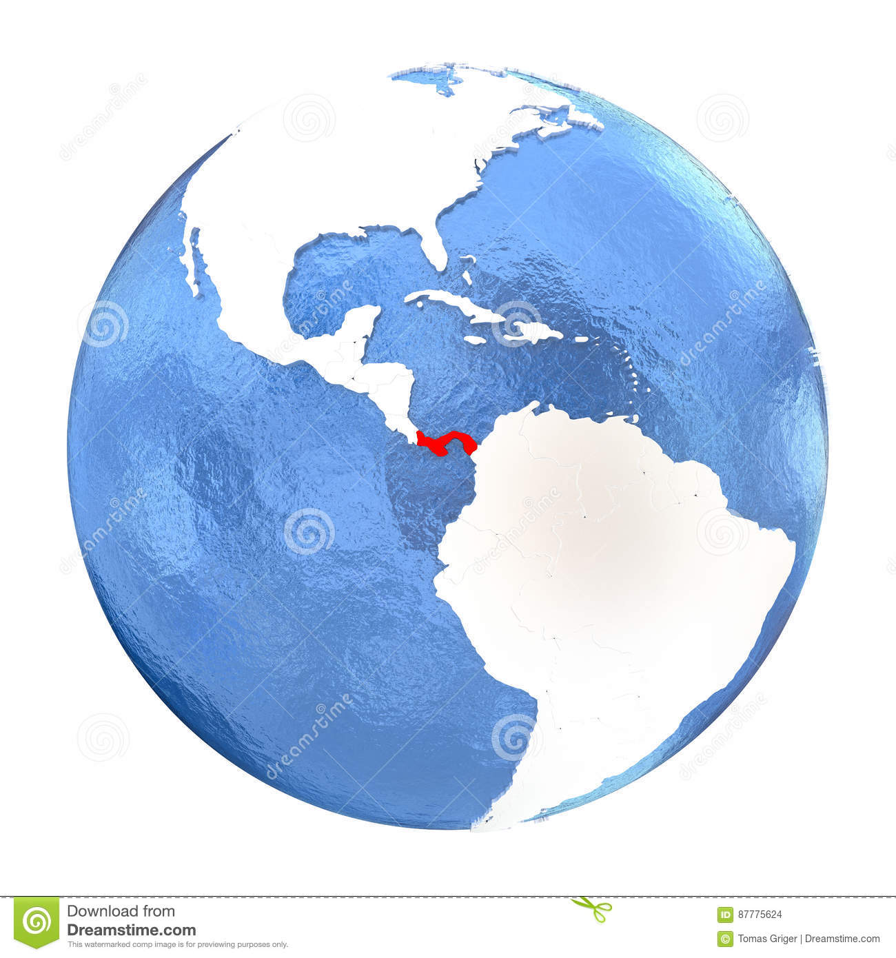 Picture of: Panama On Globe Isolated On White Stock Illustration Illustration Of Political South 87775624