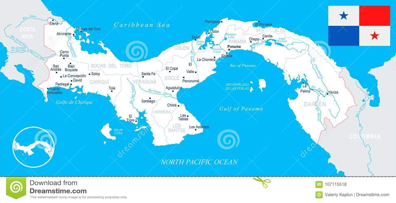 Panama On Map Of World.Panama Map Detailed Illustration Stock Illustration Illustration
