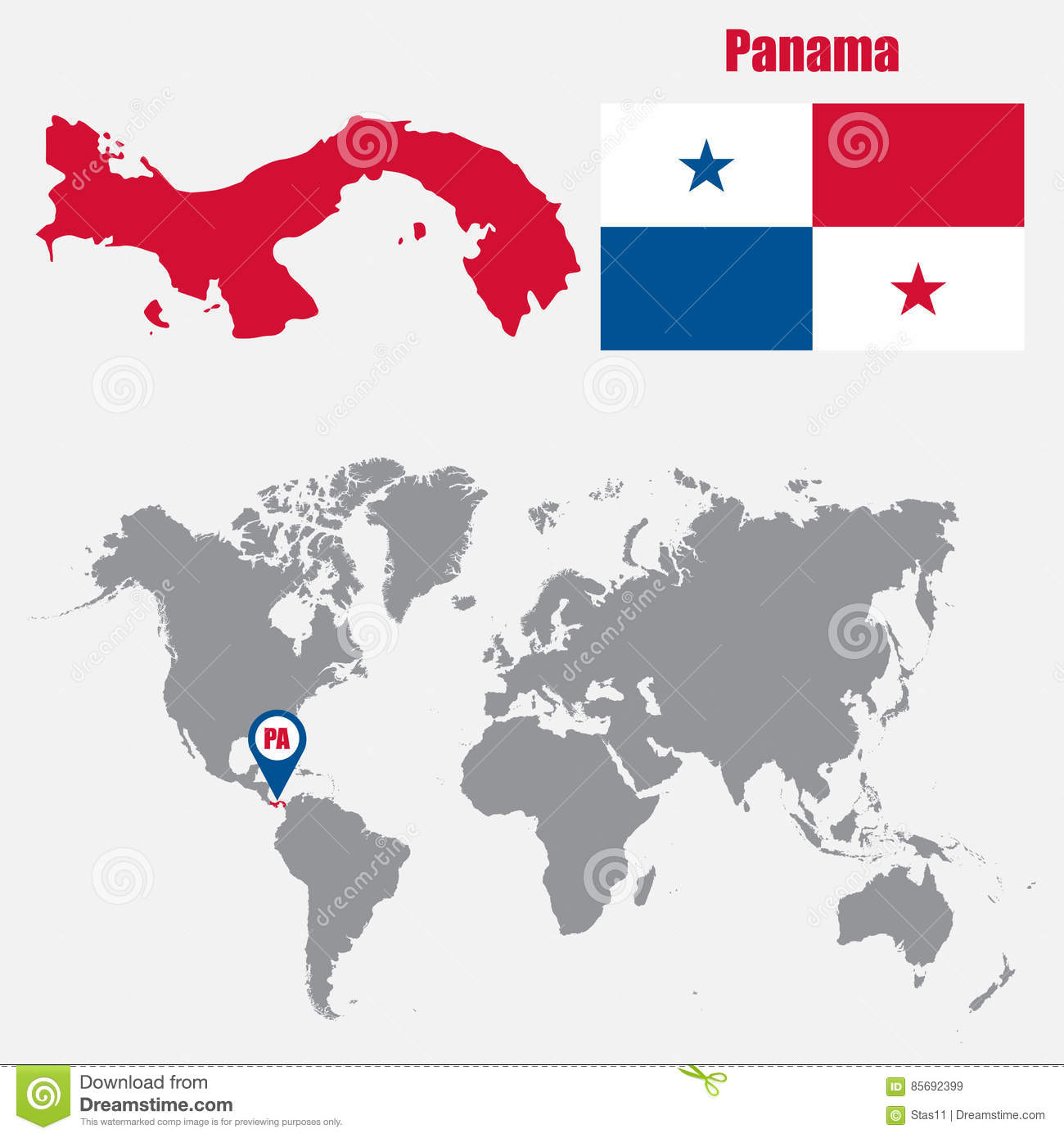 Panama Map On A World Map With Flag And Map Pointer Vector