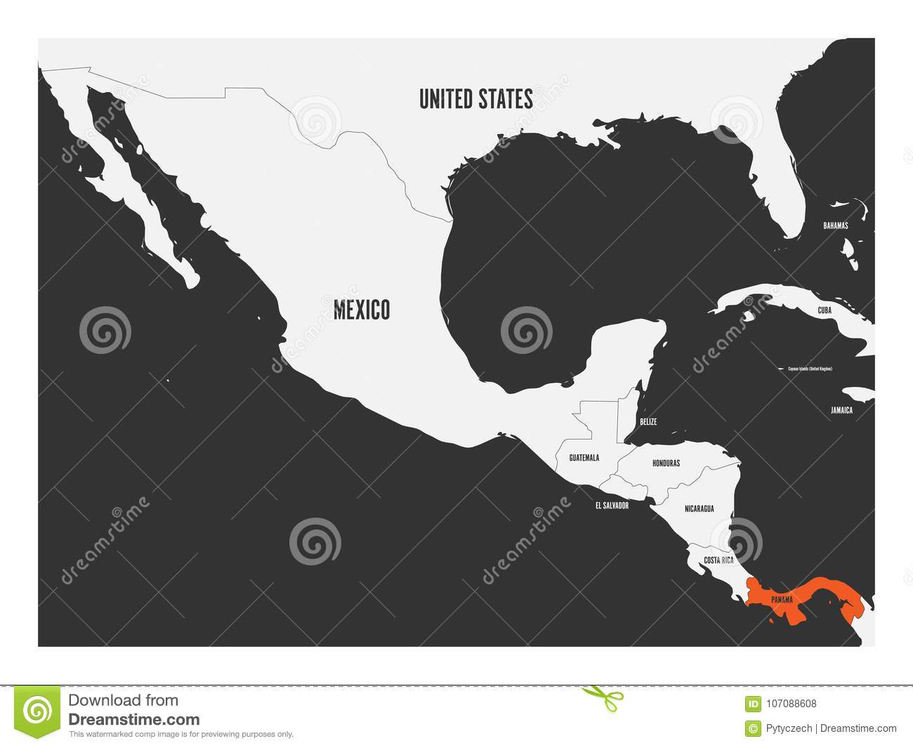 Panama Orange Marked In Political Map Of Central America. Simple ...