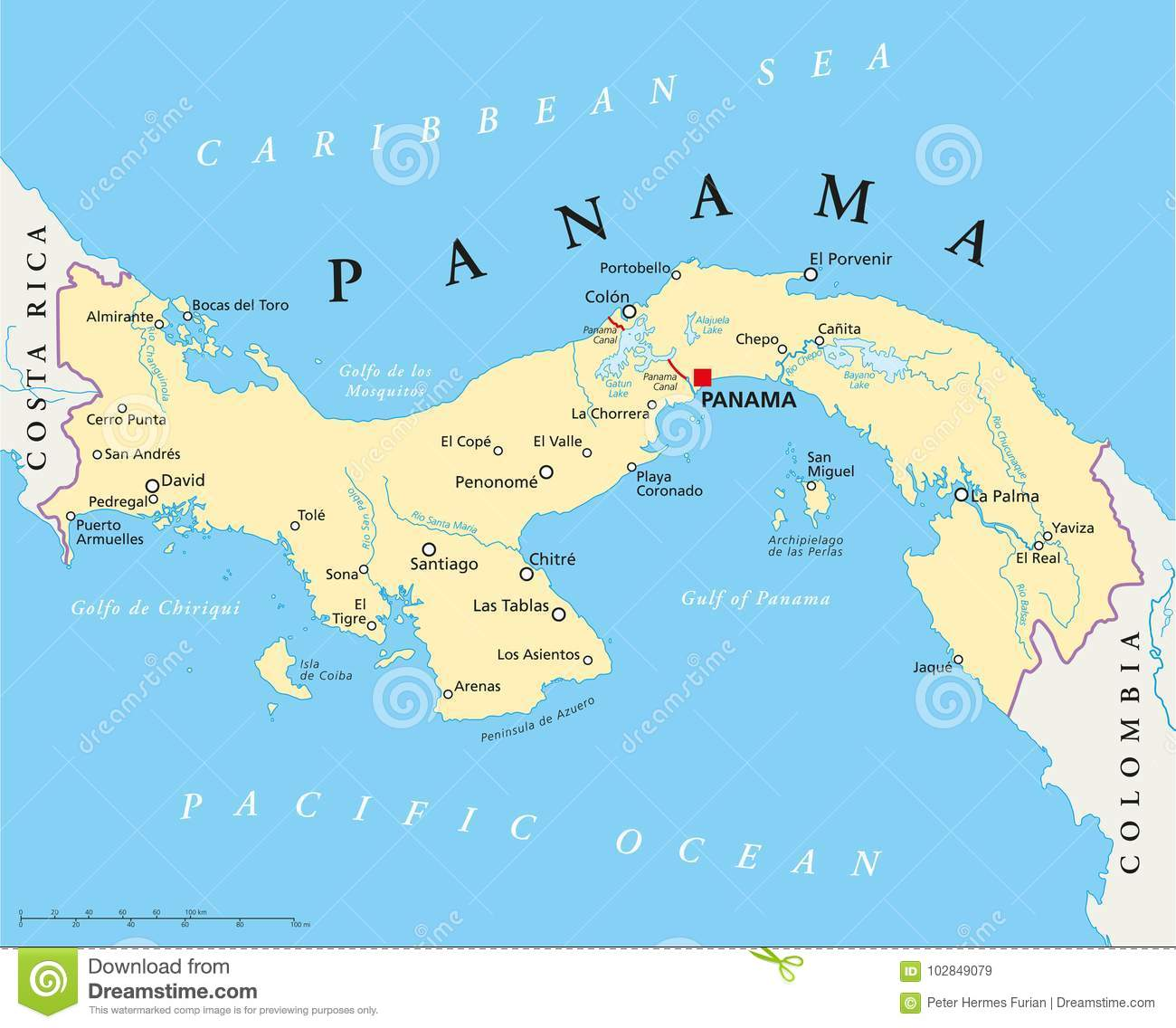 Image of: Panama Political Map Stock Vector Illustration Of Latin 102849079