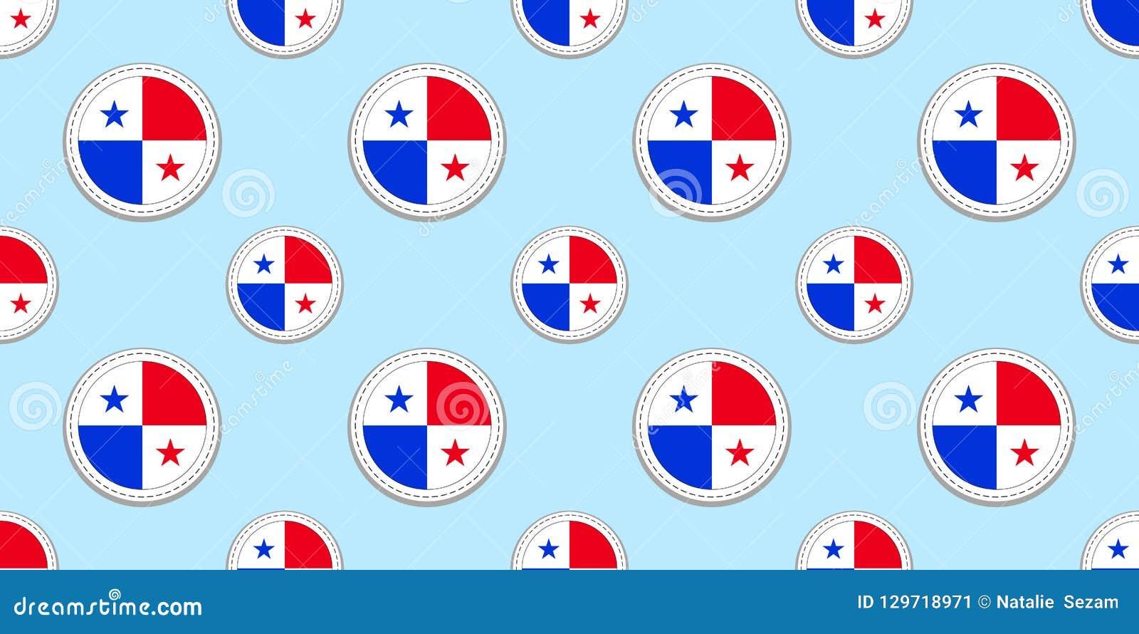 Panama round flag seamless pattern. Panamanian background. Vector circle icons. Geometric symbols.