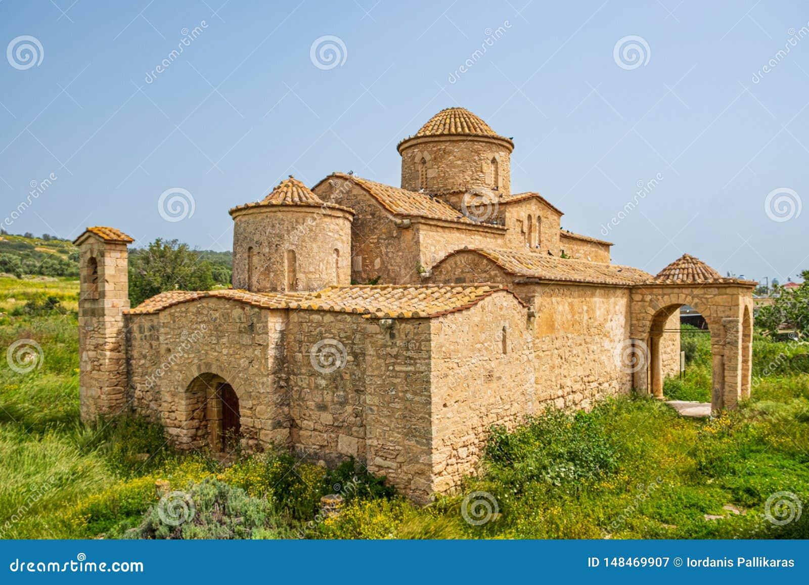 Panayia Kanakaria 6th wieka monasteru Bizantyjski kościół w Lythrangomi, Cypr