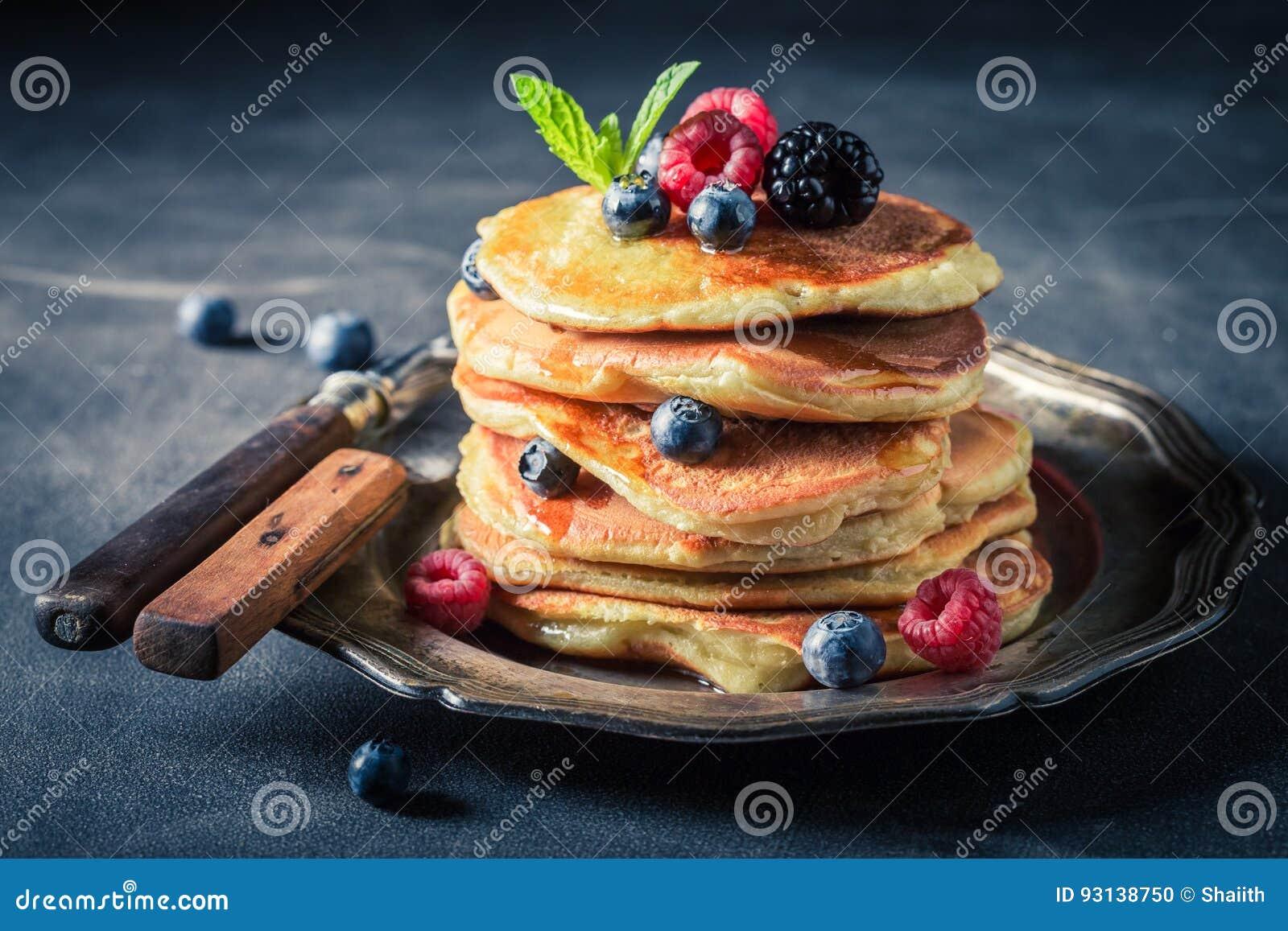 Pancake Americani Dolci Per La Prima Colazione Di Mattina Fotografia