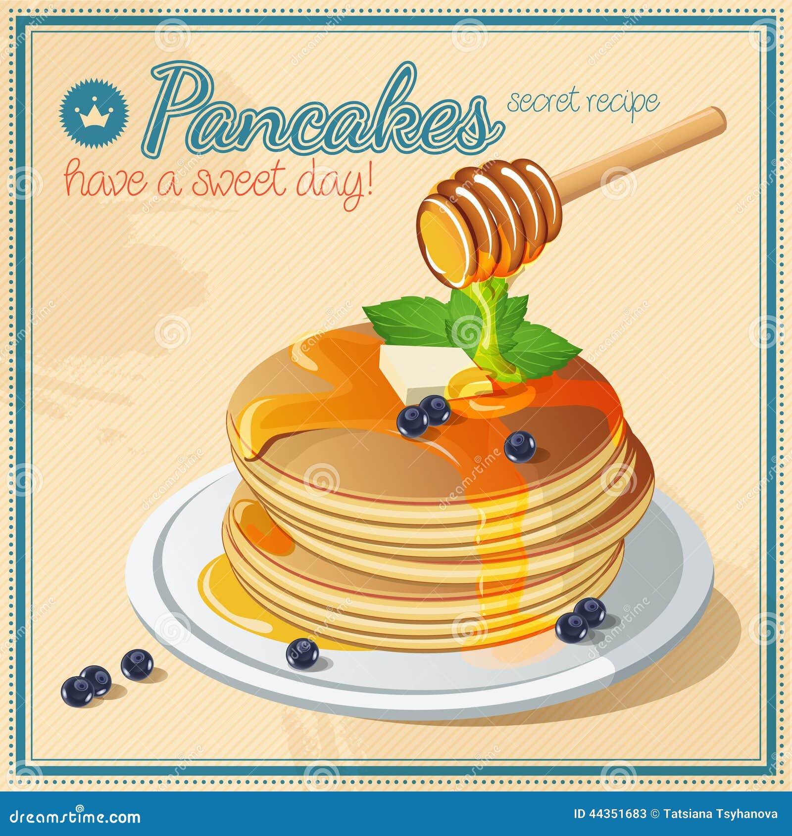 Pancake di vettore Miele dolci Burro annata signboard