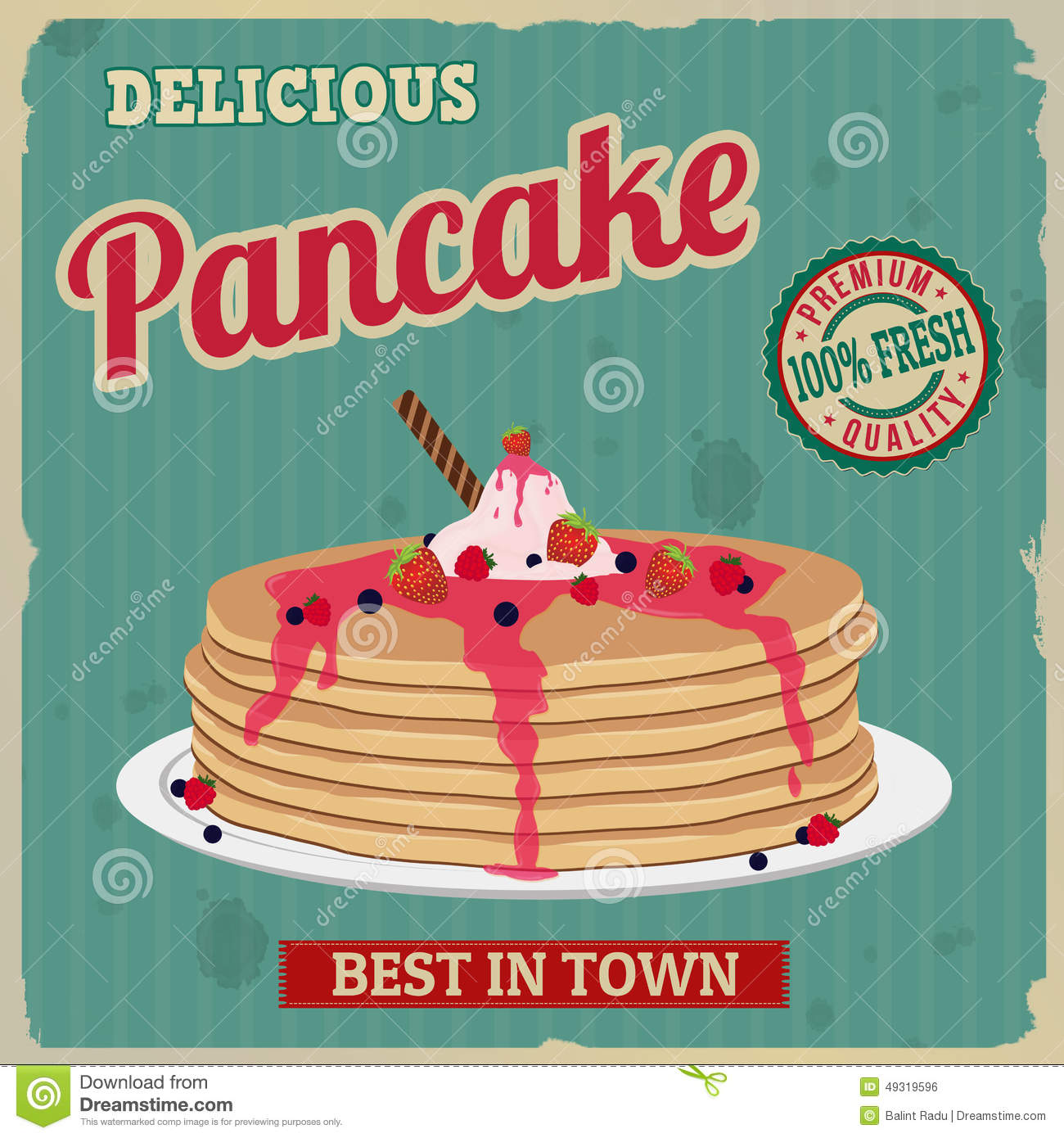 Pancake retro poster in vintage style, vector illustration.