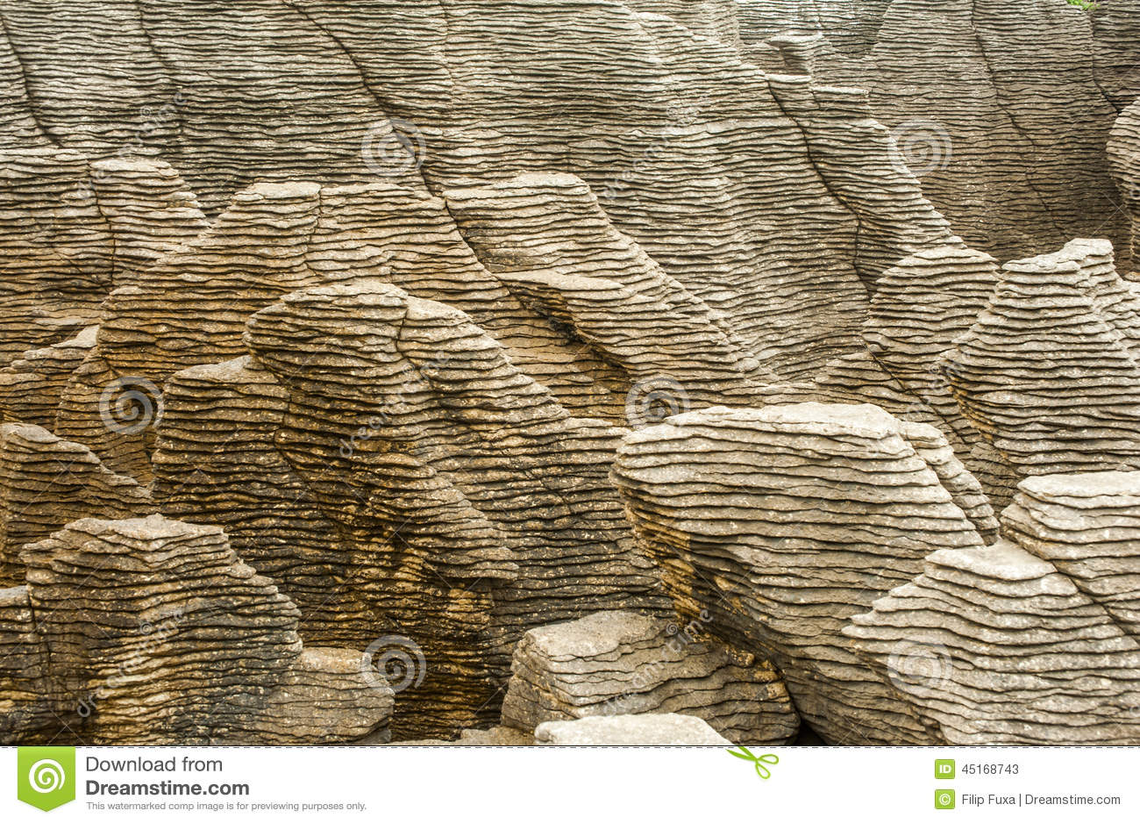 Newzealand Detail: Pancake Rock Stock Photo