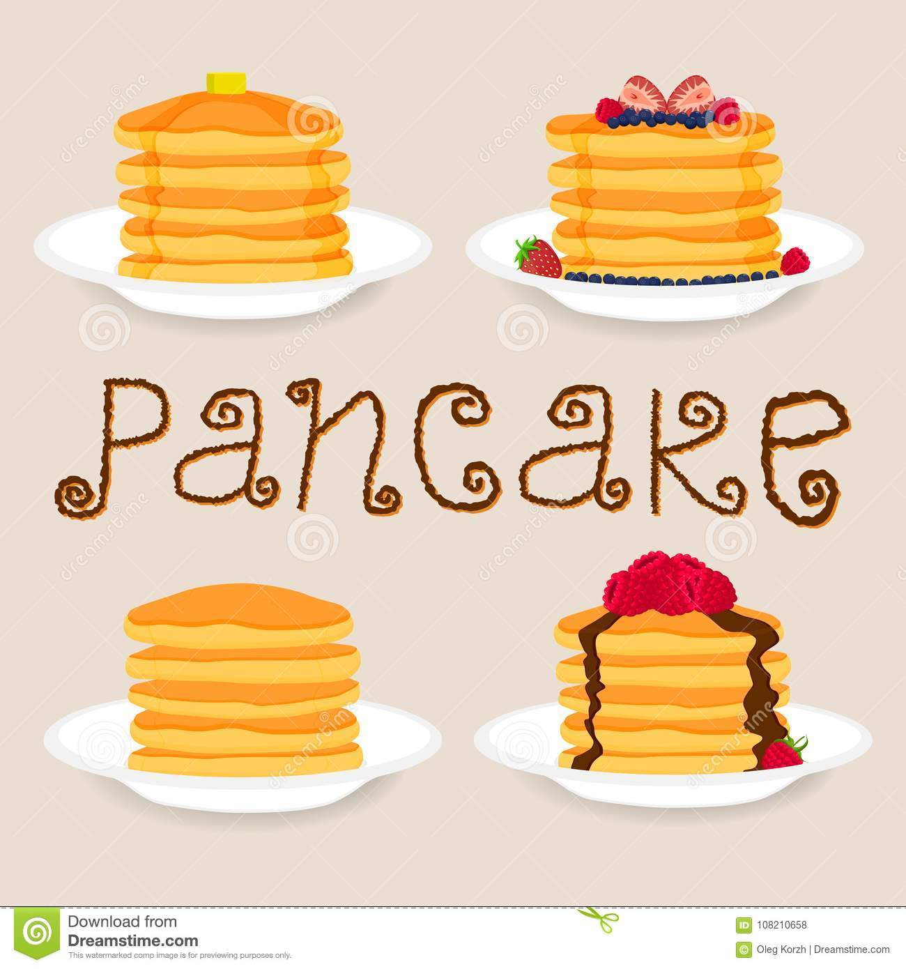 Peachy Pancakes With Berries Honey Piece Of Butter Stock Vector Home Remodeling Inspirations Basidirectenergyitoicom