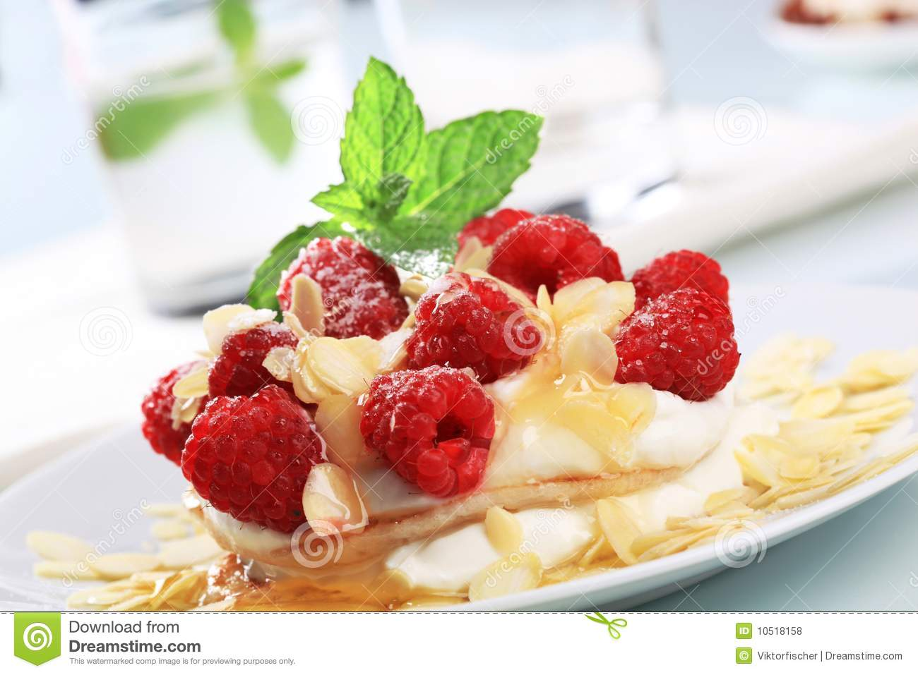 Pancakes With Curd Cheese And Raspberries Royalty Free ...