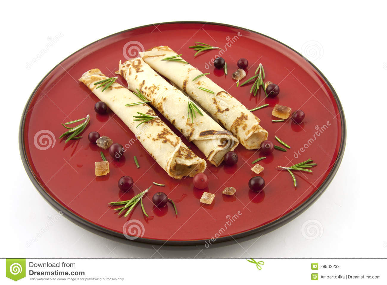Pancakes With Decoration On A Ceramic Plate Stock Image Image Of