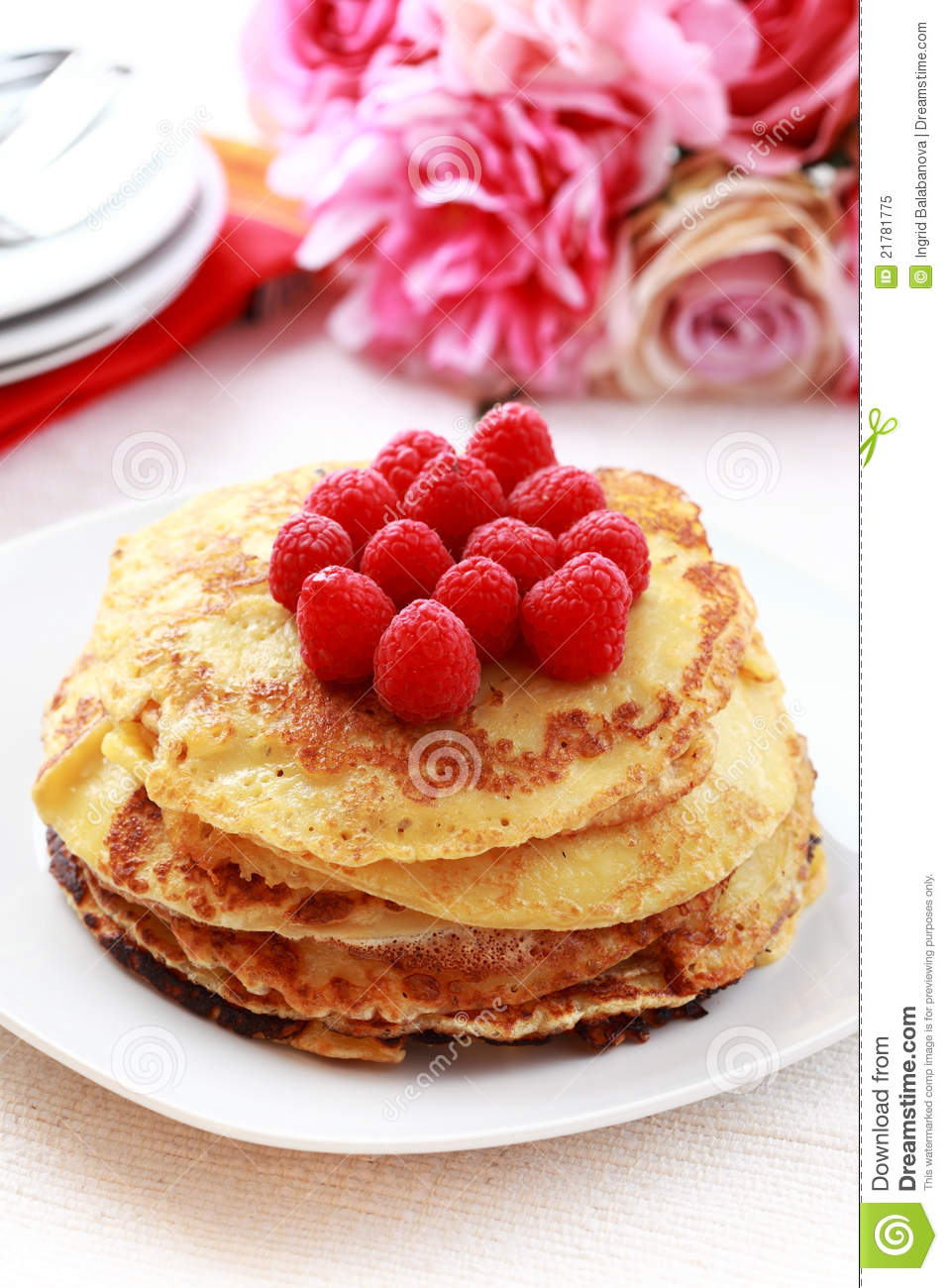 Pancakes With Fresh Raspberries Royalty Free Stock Photo ...