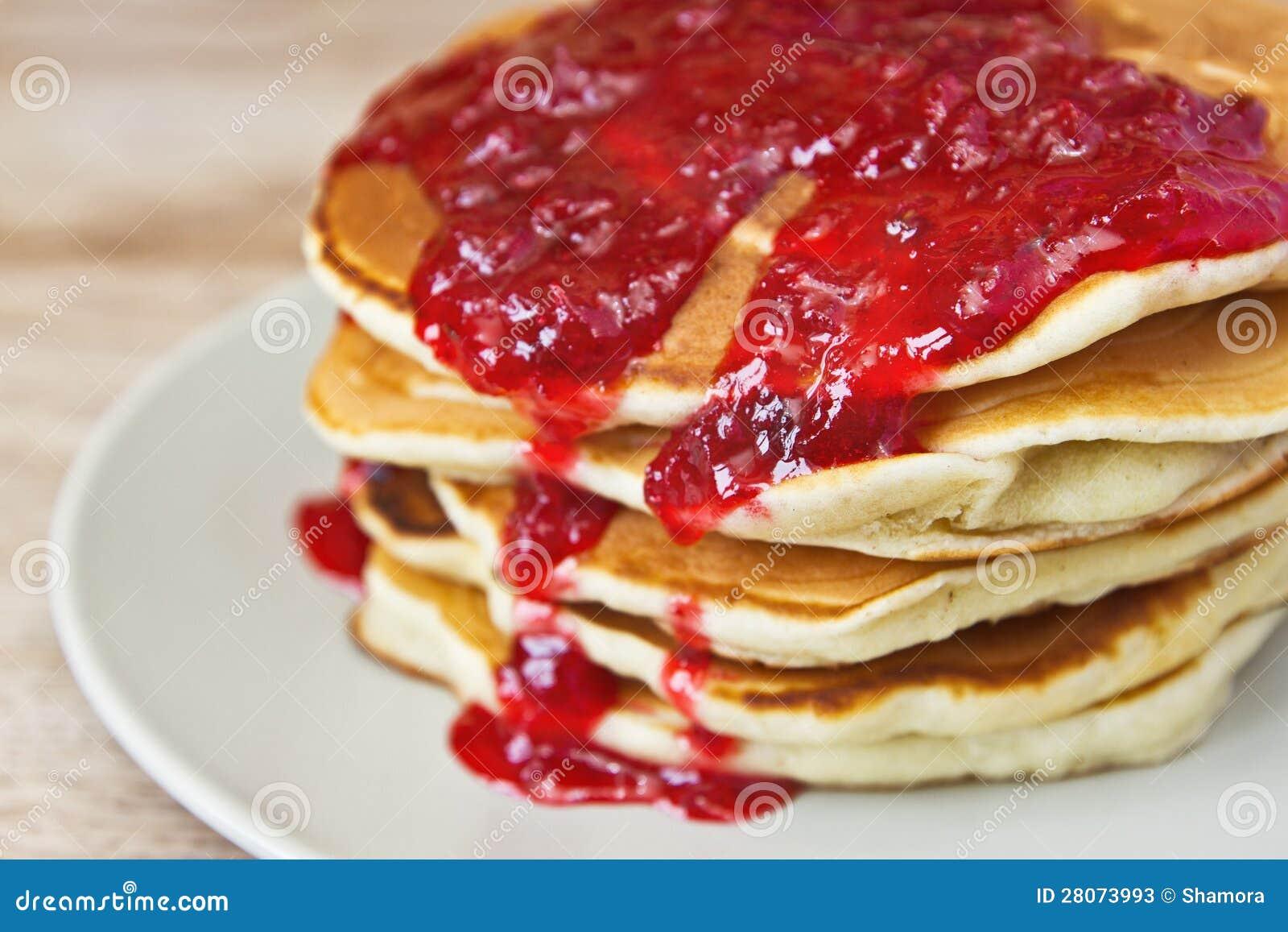 Pancakes With Jam Closeup Stock Photos Image 28073993