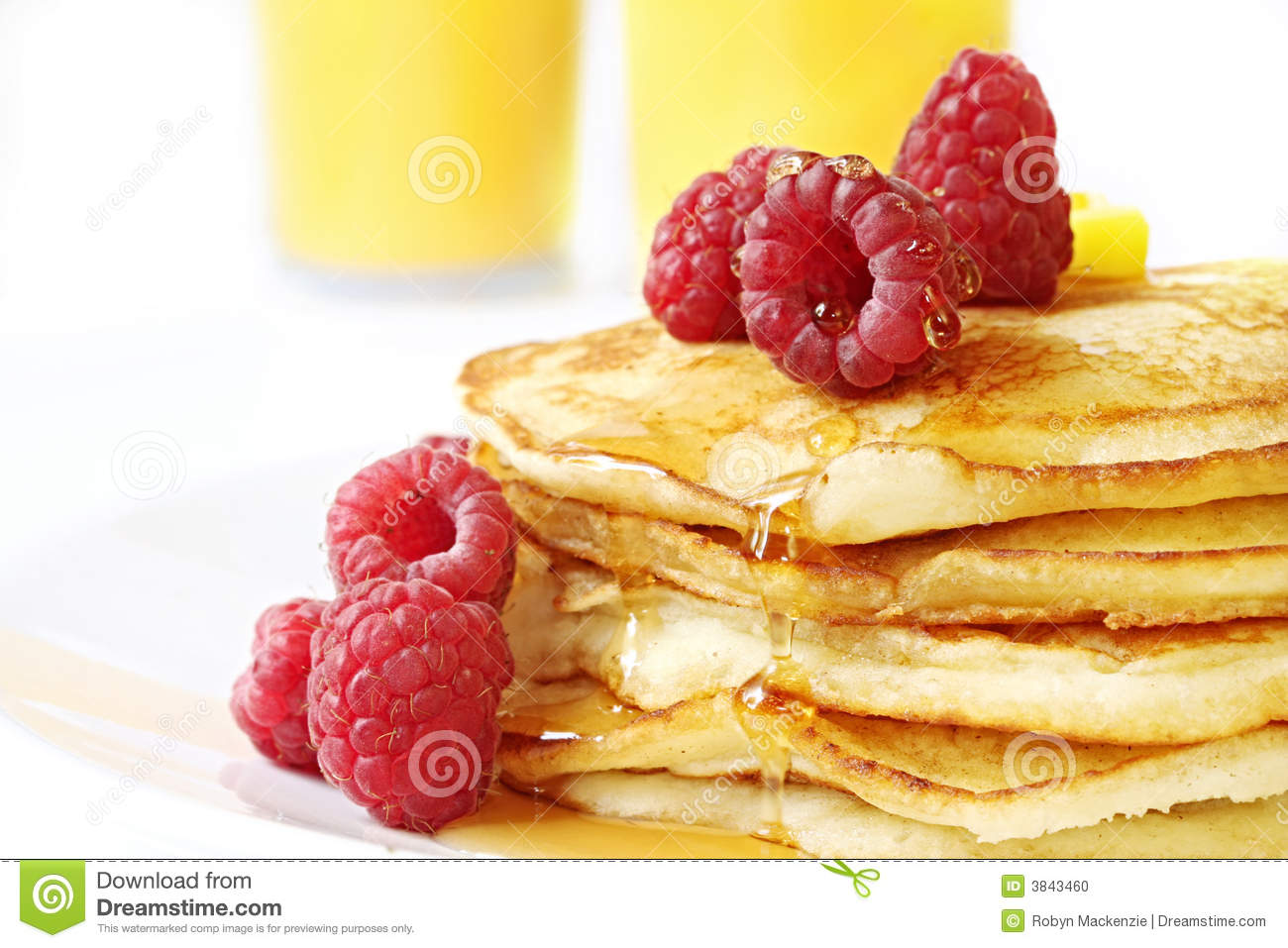 Download Pancakes with Raspberries stock photo. Image of berry - 3843460