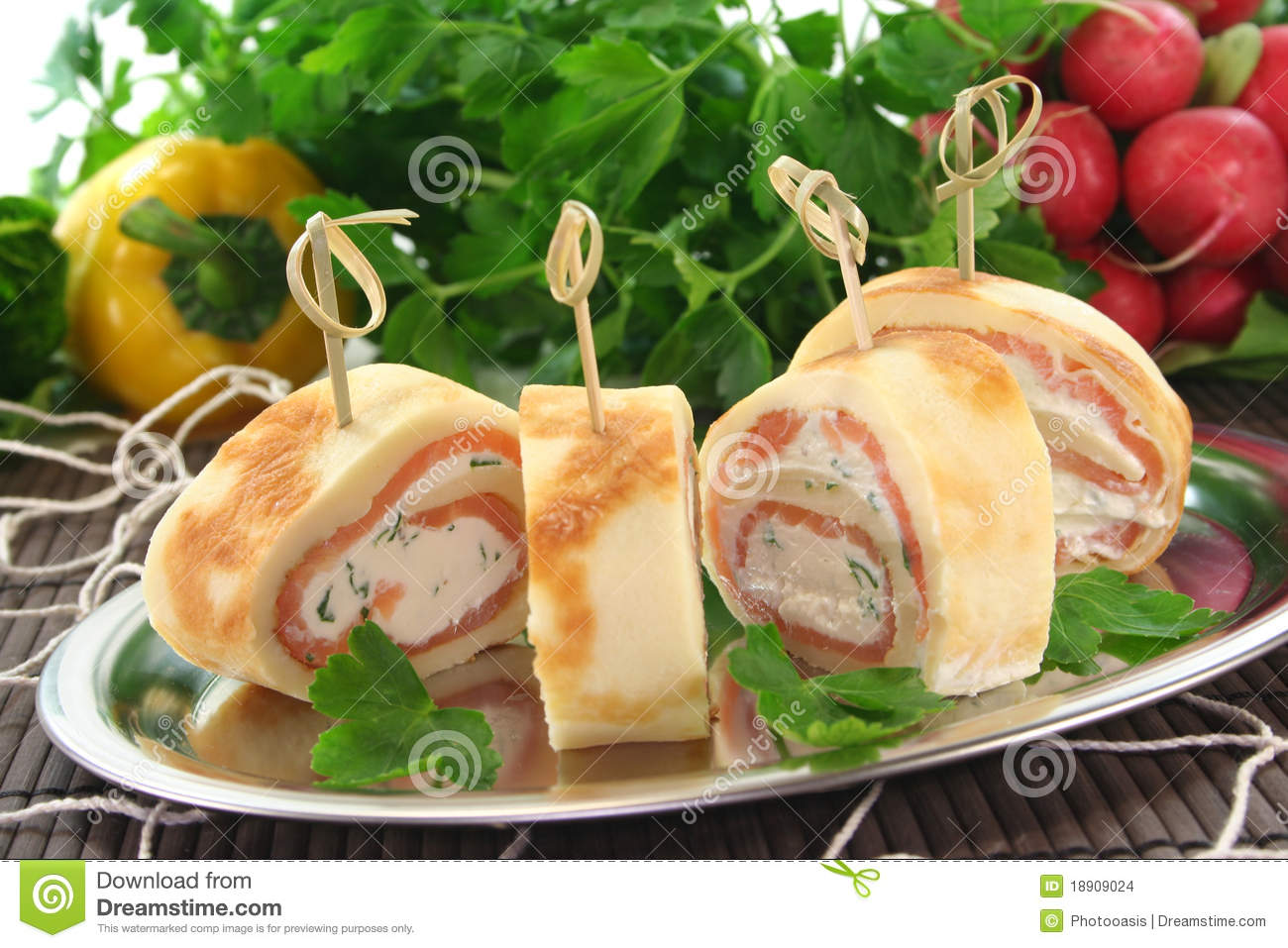 Pancakes With Salmon And Cream Cheese Stock Images - Image: 18909024