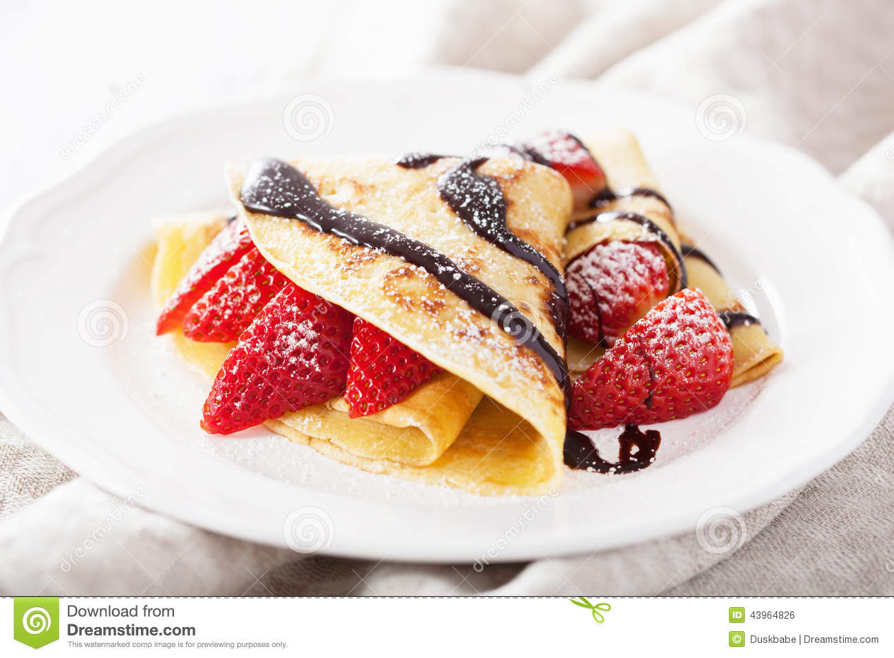 Pancakes With Strawberry And Chocolate Sauce Stock Photo - Image ...