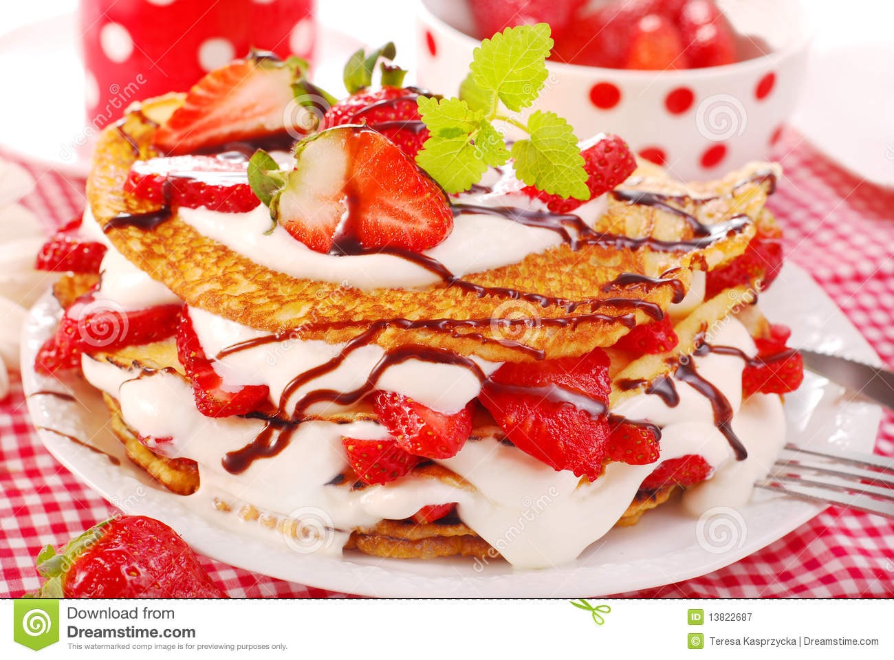 Pancakes With Strawberry And Cream Royalty Free Stock Photography ...
