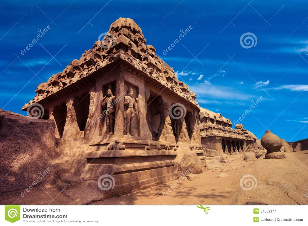 Panch Rathas Monolithic Hindu Temple India Royalty Free