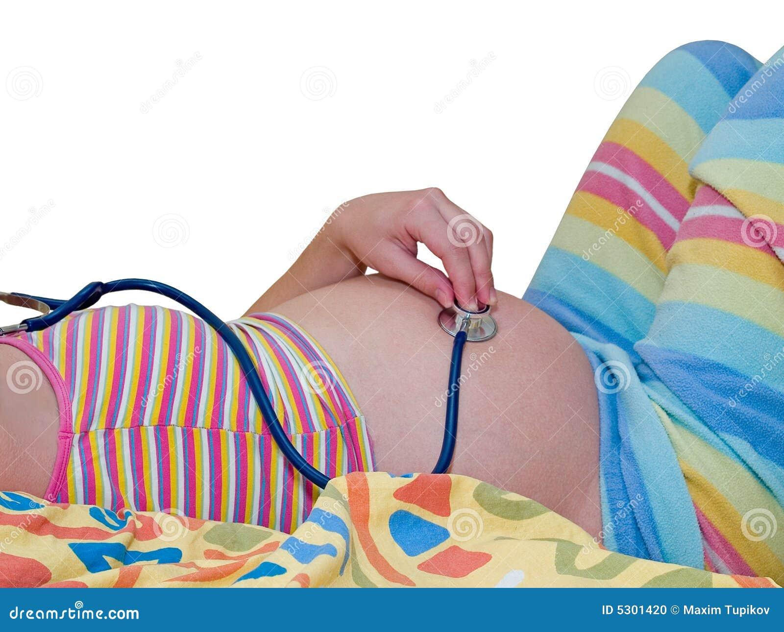 Download Pancia Della Donna Incinta Con Lo Stetoscopio Fotografia Stock - Immagine di misura, isolato: 5301420