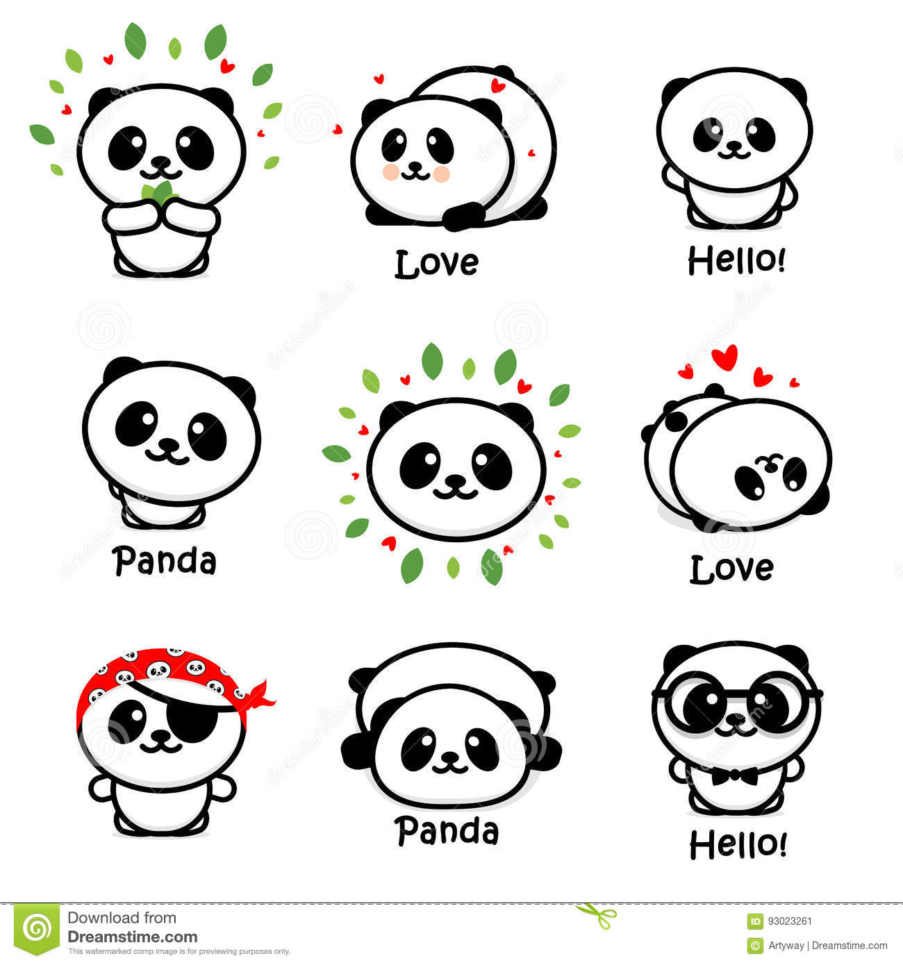 Panda Asian Bear Vector Illustrations mignon, collection d animaux chinois Logo Elements simple, icônes noires et blanches