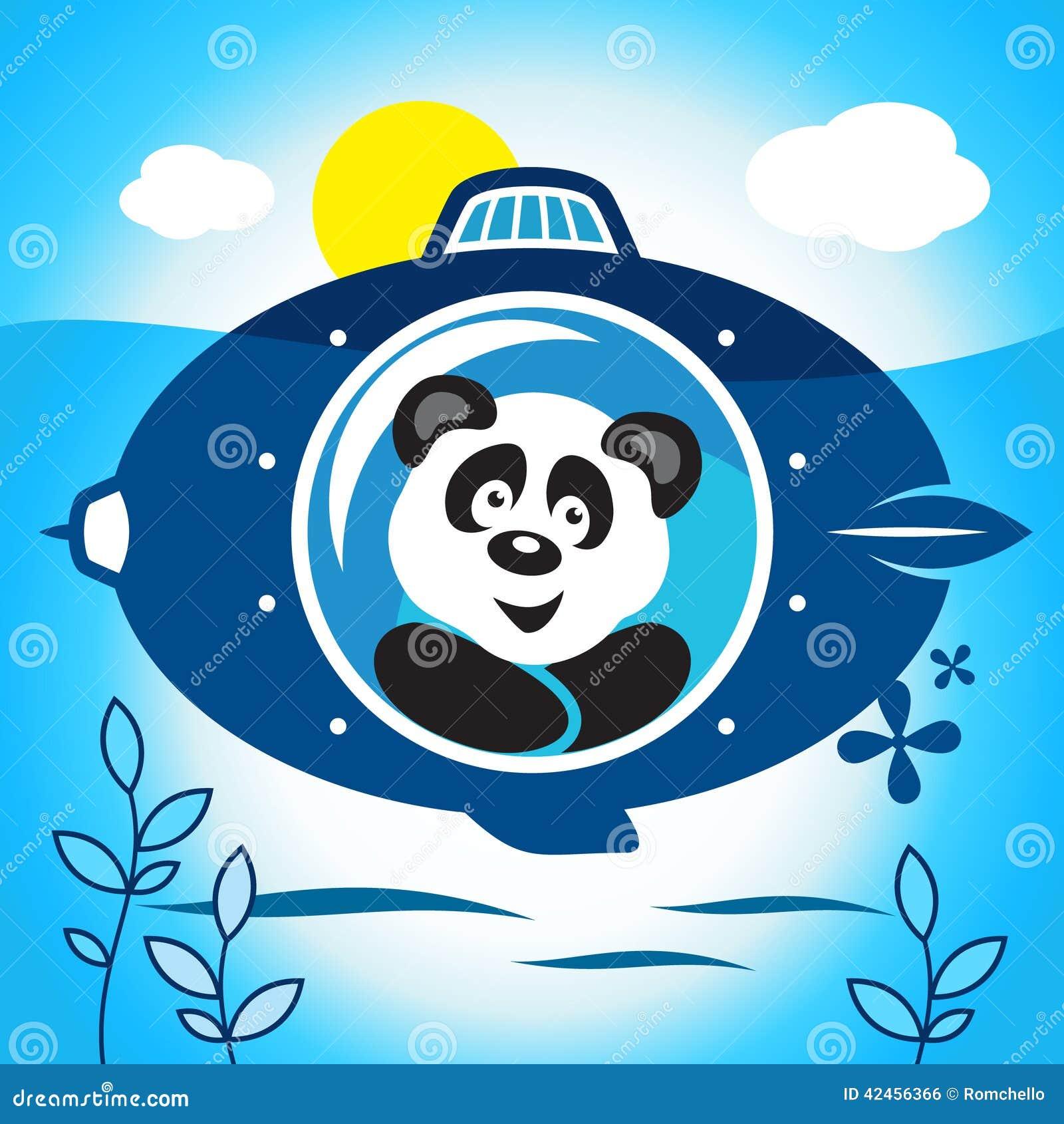 Panda auf einem Unterseeboot