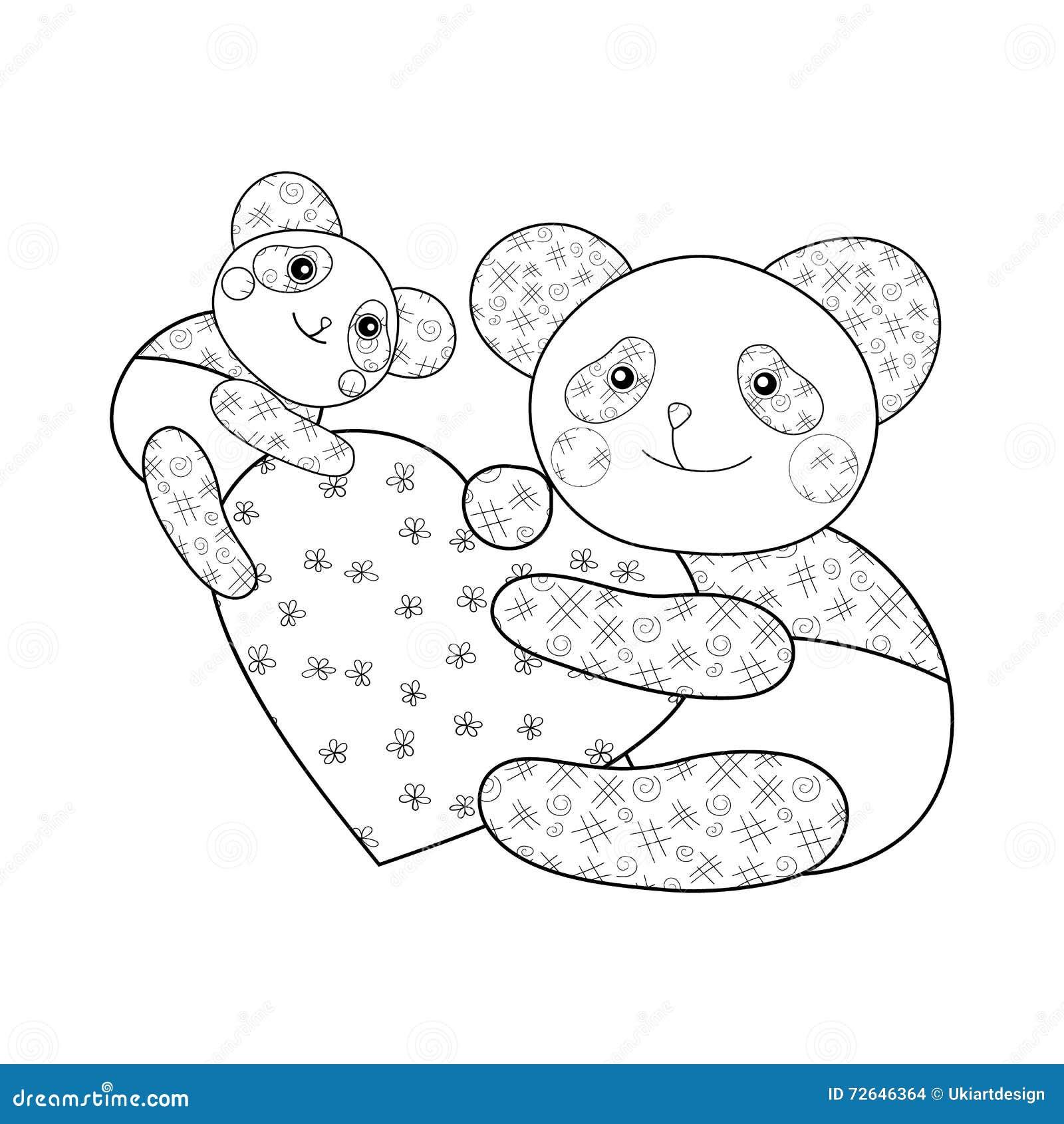Panda avec la page de livre de coloriage d 39 enfant de coeur - Coloriage panda ...