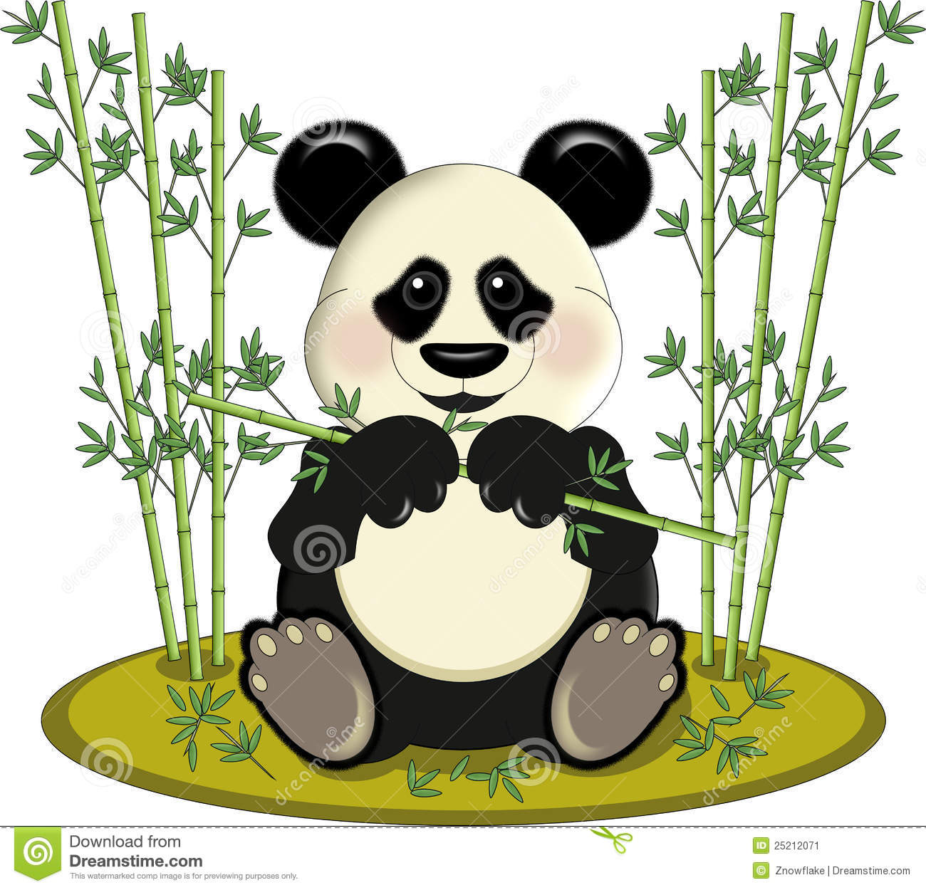 Panda Avec Le Bambou Illustration Stock Illustration Du Enfant