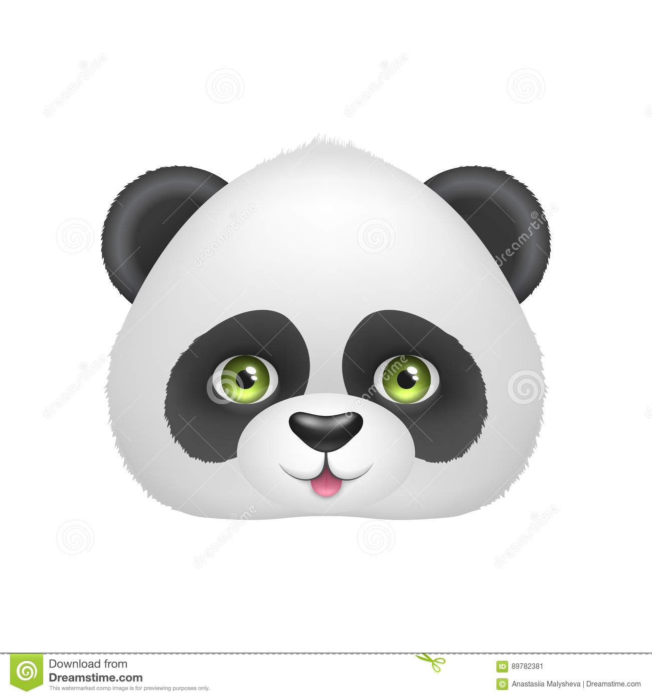 Panda Baby Face With Smile Stock Vector Illustration Of Asian