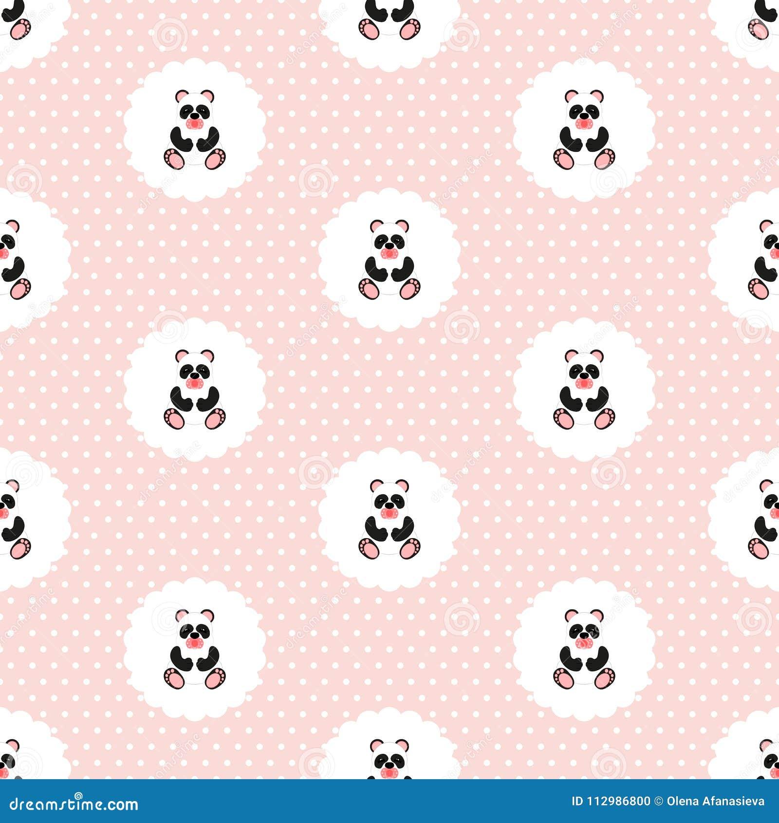 Panda baby. Pattern. Seamless illustration. Flat.