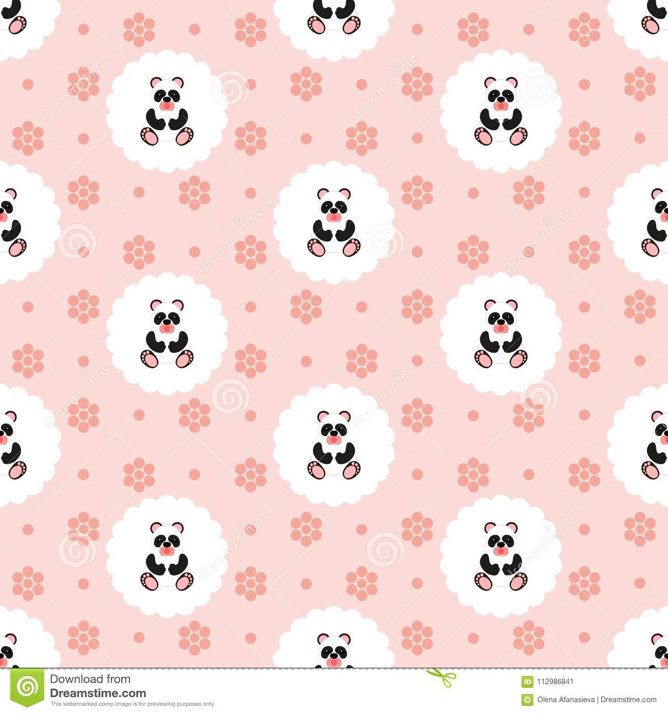 Panda baby. Pattern. Seamless vector illustration. Flat.