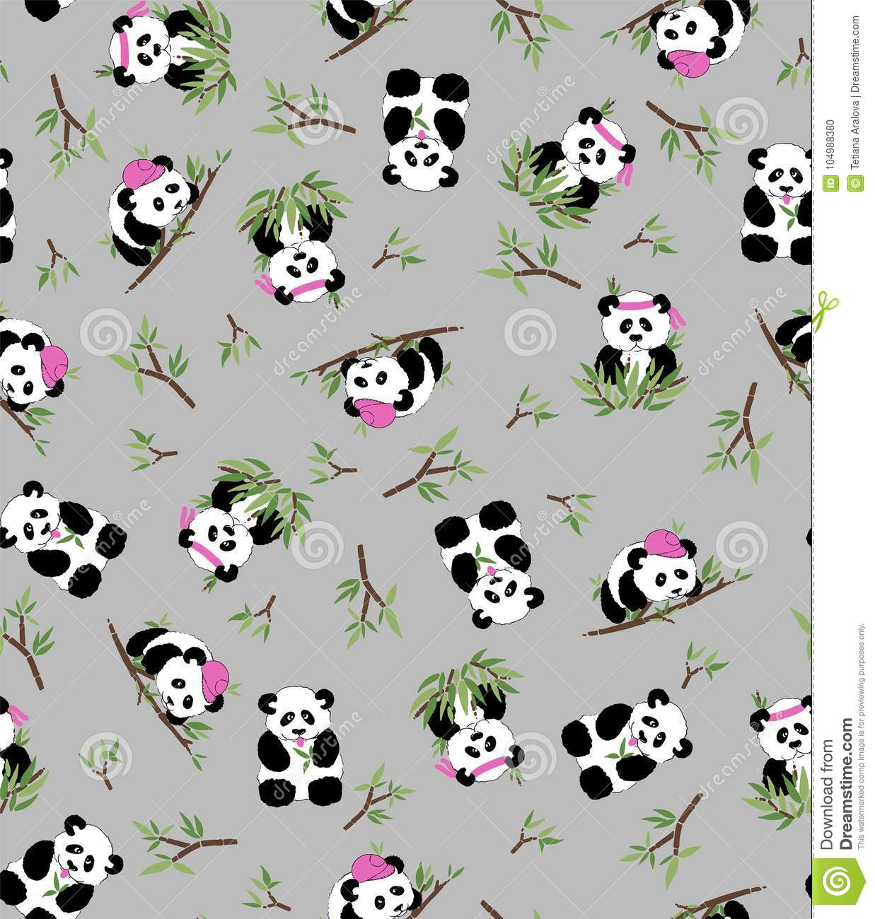 Panda and bamboo, grey background. Seamless pattern - Textil, postcards wallpaper
