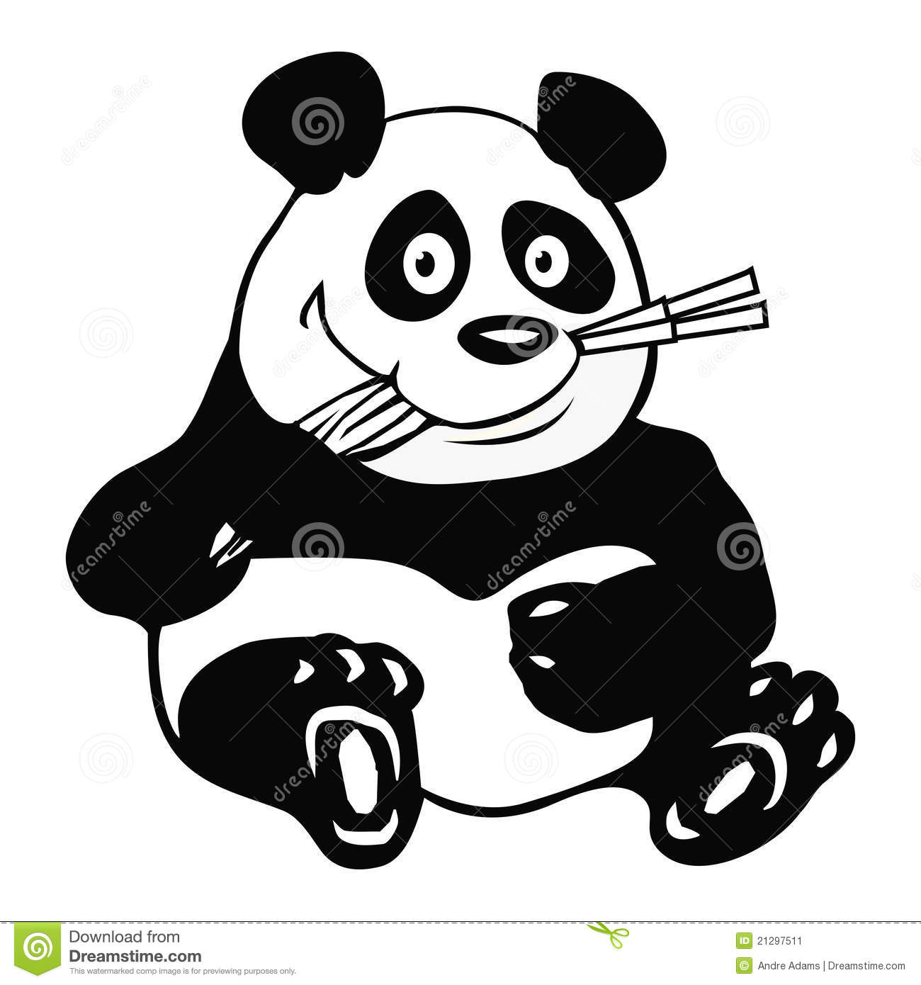 Panda Bamboo Outline Stock Vector Illustration Of Cute 21297511