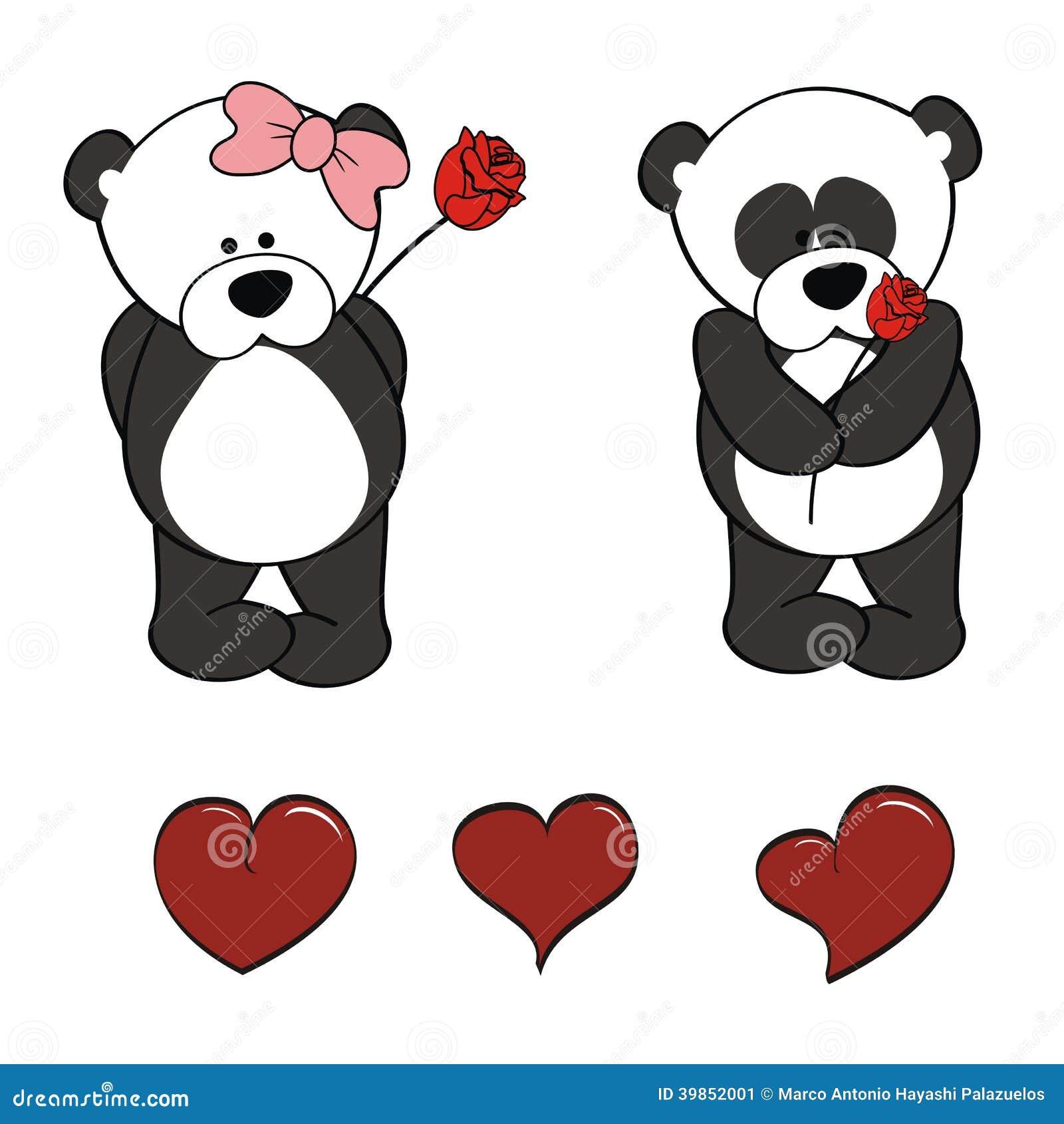 Panda Bear Baby Cartoon Valentine Rose Set Stock Vector ...