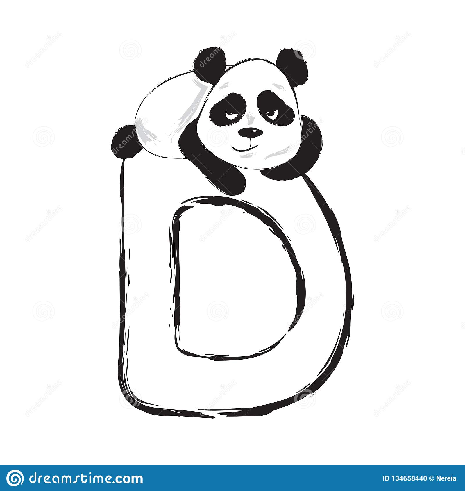 52e3eae22 Panda bear cute animal english alphabet letter D with cartoon baby font  illustrations