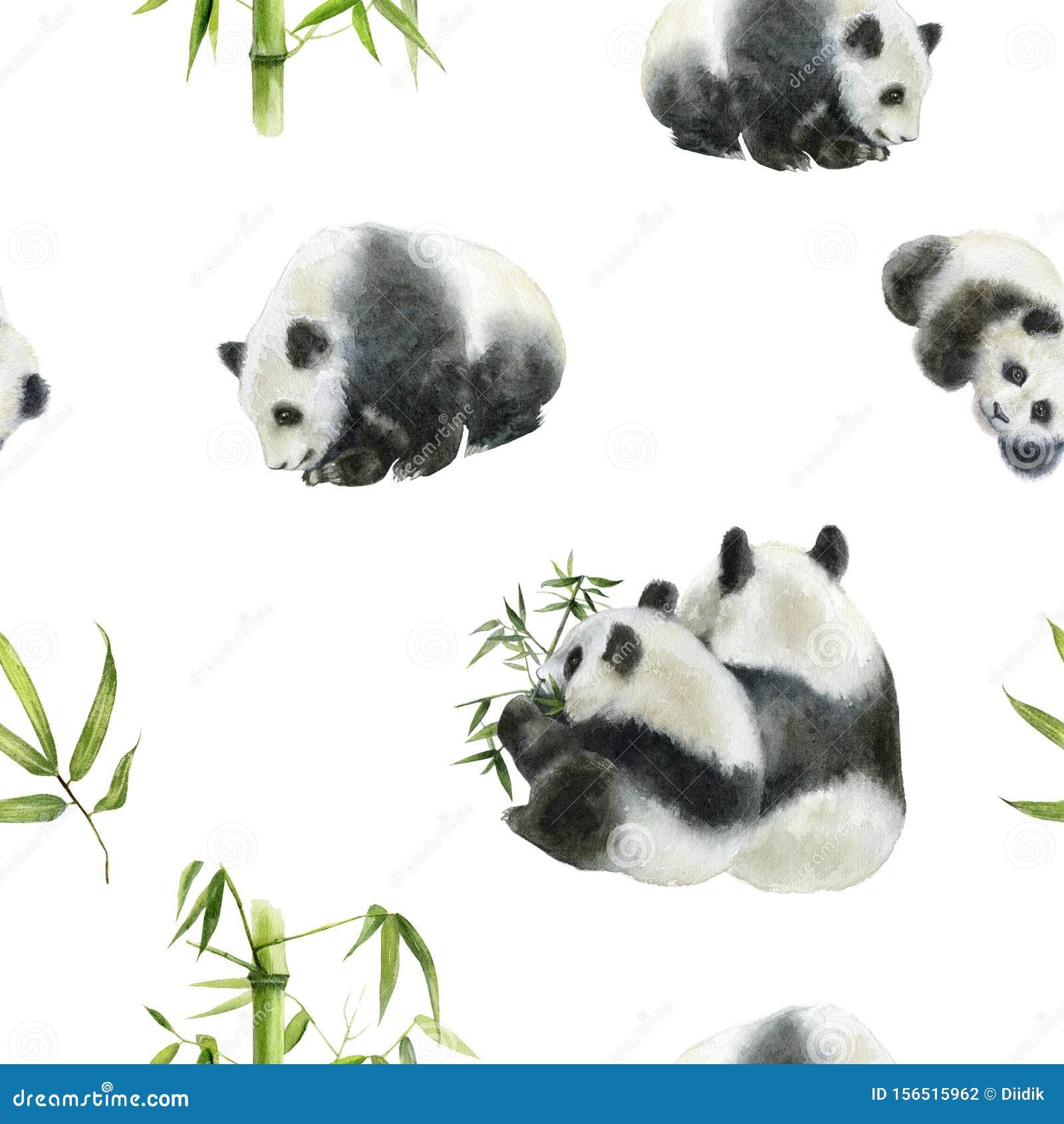 Panda bear drawn watercolor illustration. Seamless pattern.