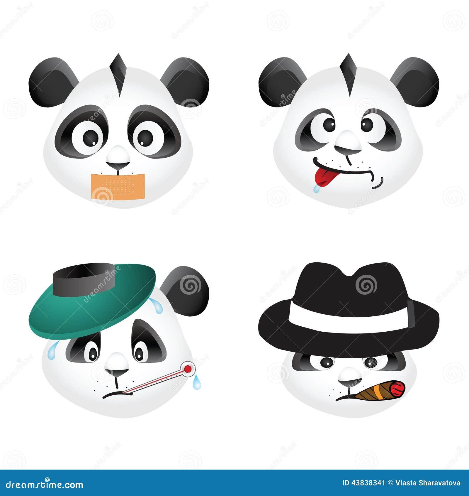 Panda Smiley Face Icons Set. Stock Photo