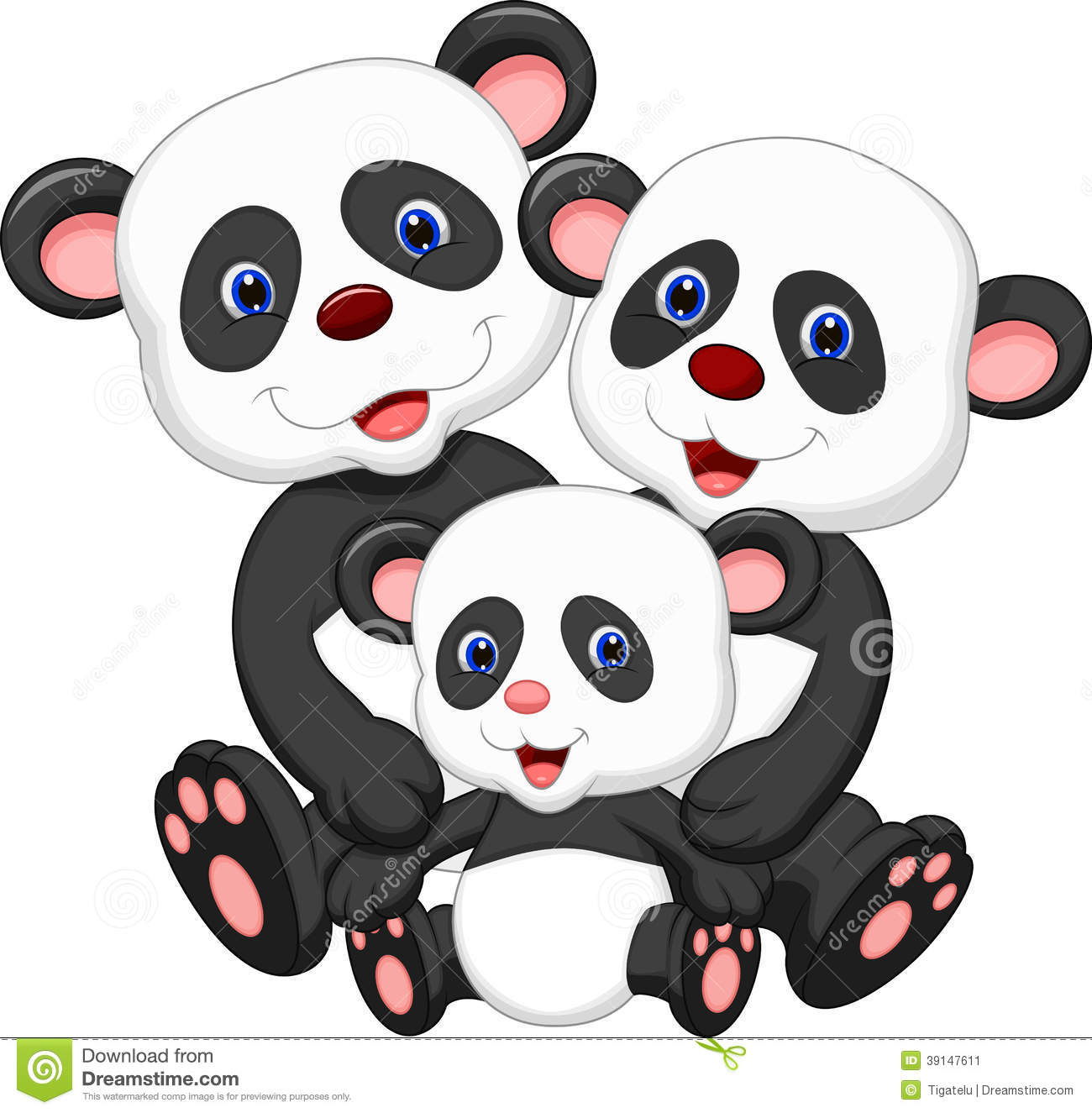 Panda bear family cartoon stock vector illustration of