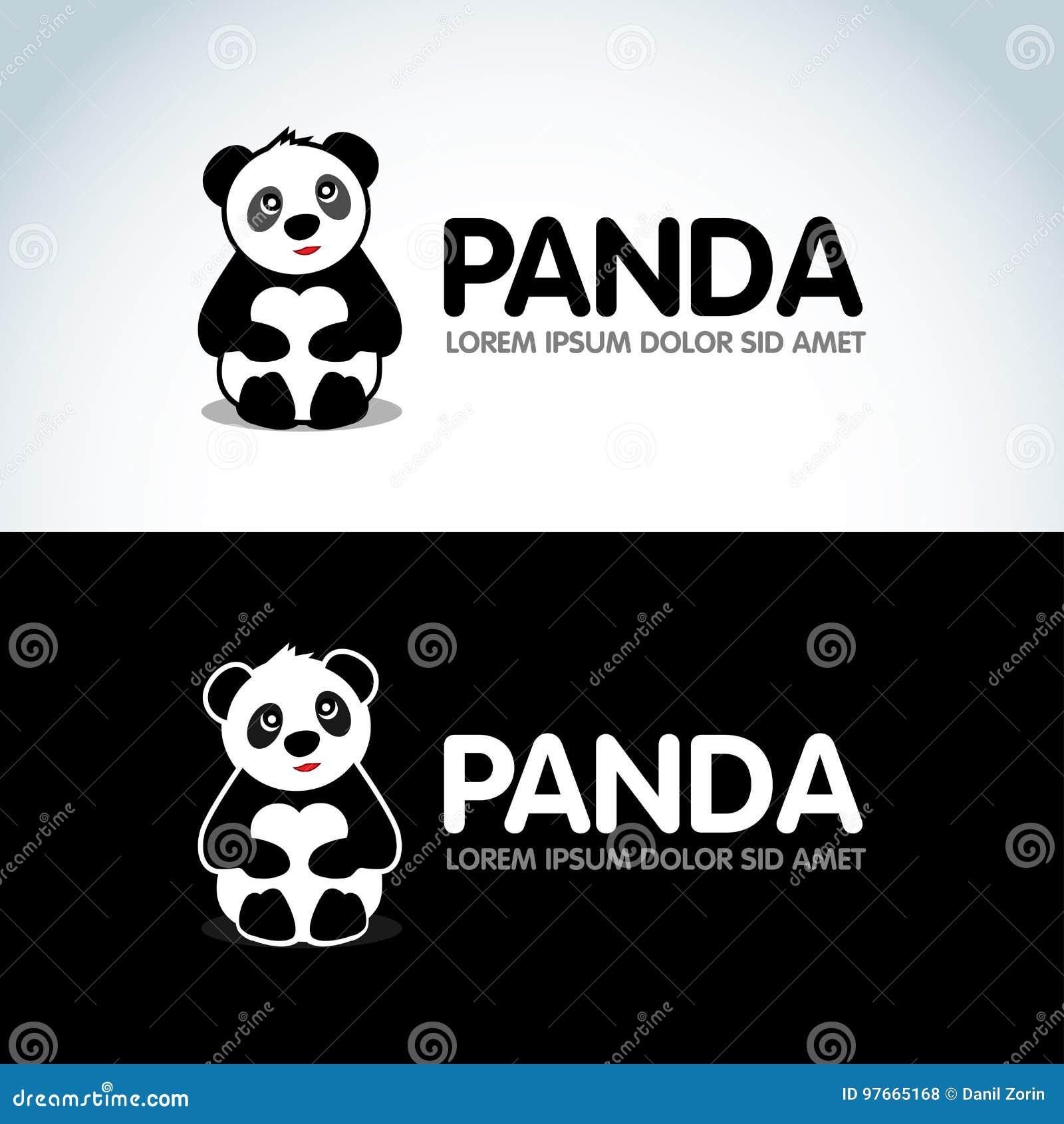 panda bear silhouette logo design template funny lazy logo panda