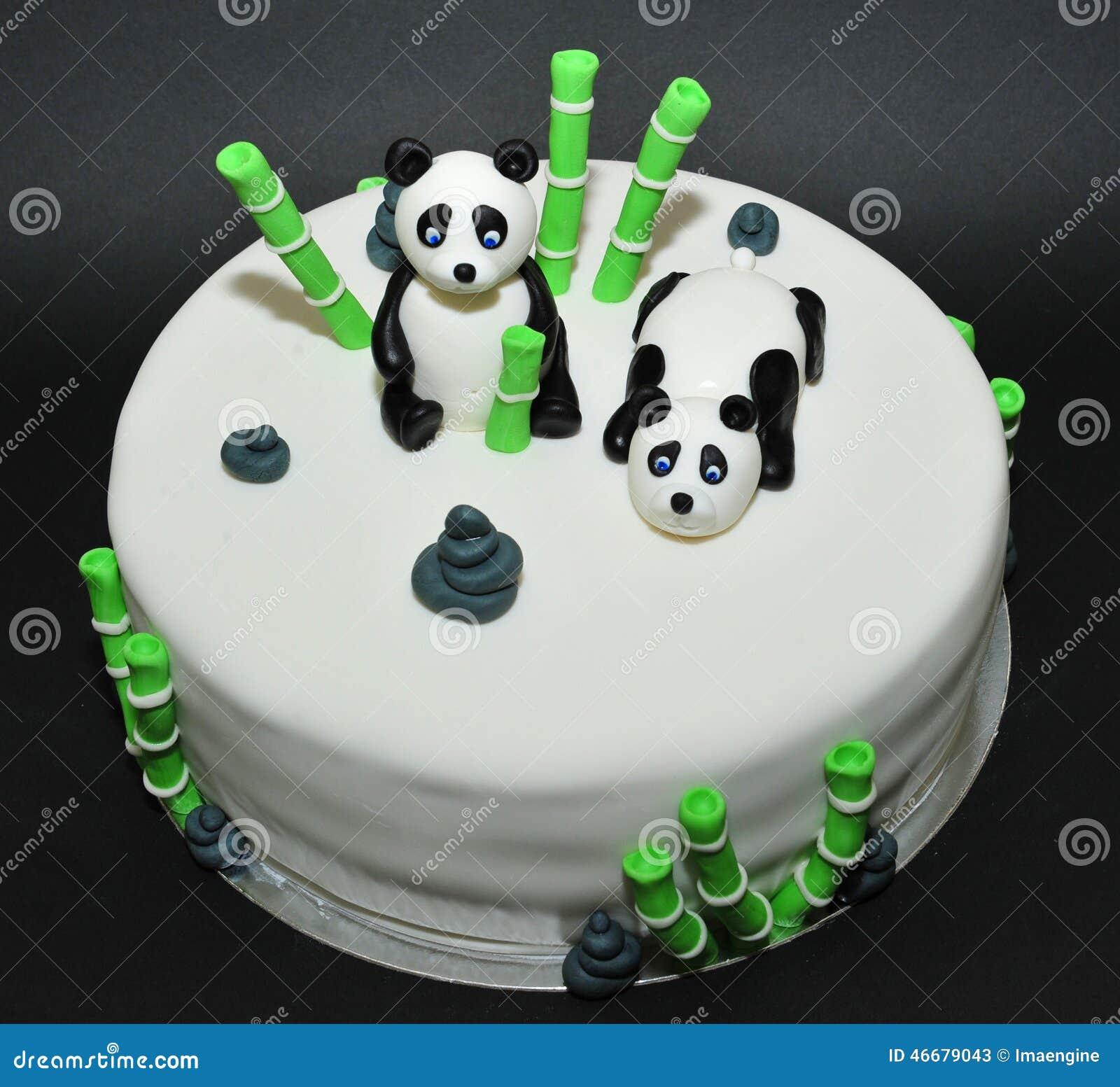 Groovy Panda Bears Fondant Birthday Cake Stock Image Image Of Celebrate Funny Birthday Cards Online Inifofree Goldxyz