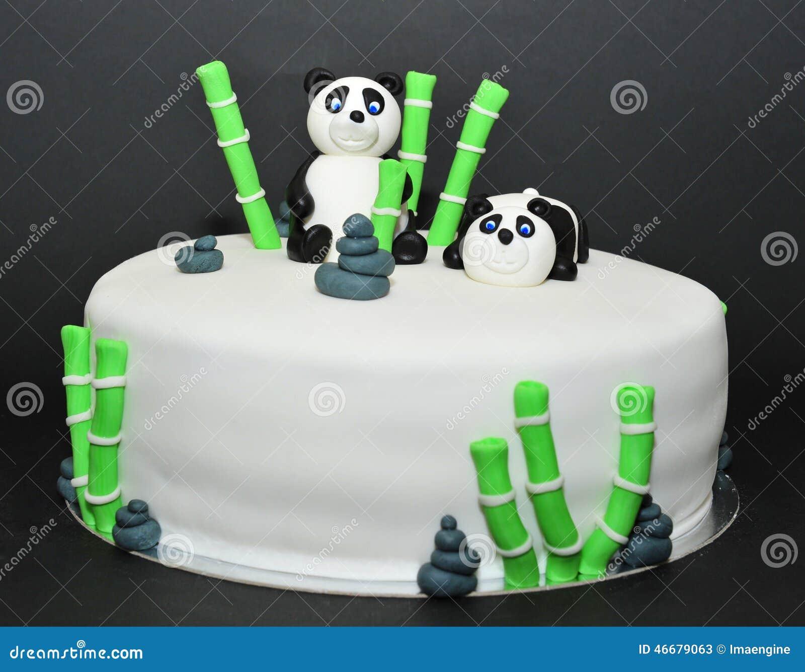 Strange Panda Bears Fondant Birthday Cake Stock Image Image Of Garden Funny Birthday Cards Online Inifofree Goldxyz