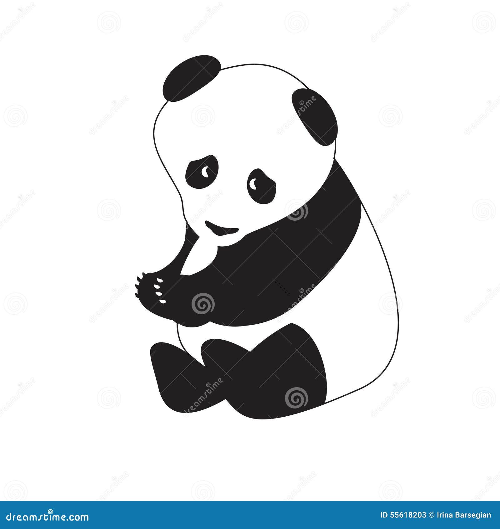 Panda Blanc Noir Disolement Illustration De Vecteur