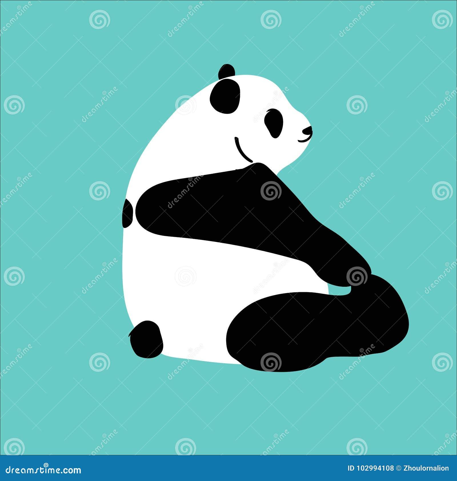 A panda bonita do vetor senta e joga o pé