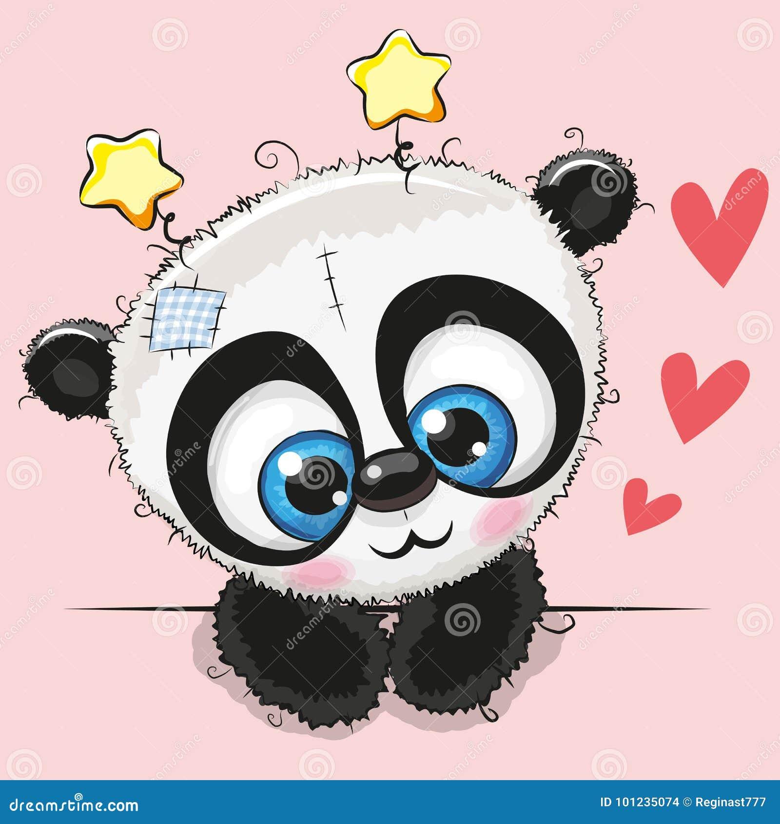 Panda Bonito Dos Desenhos Animados Com Olhos Grandes Ilustracao Do