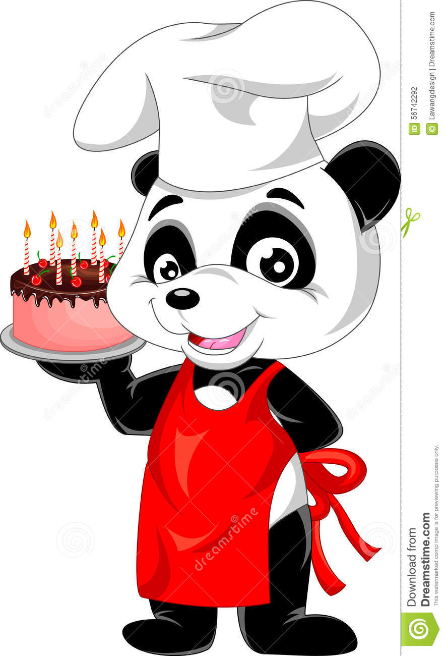Panda Cartoon With Birthday Cake Stock Vector Image