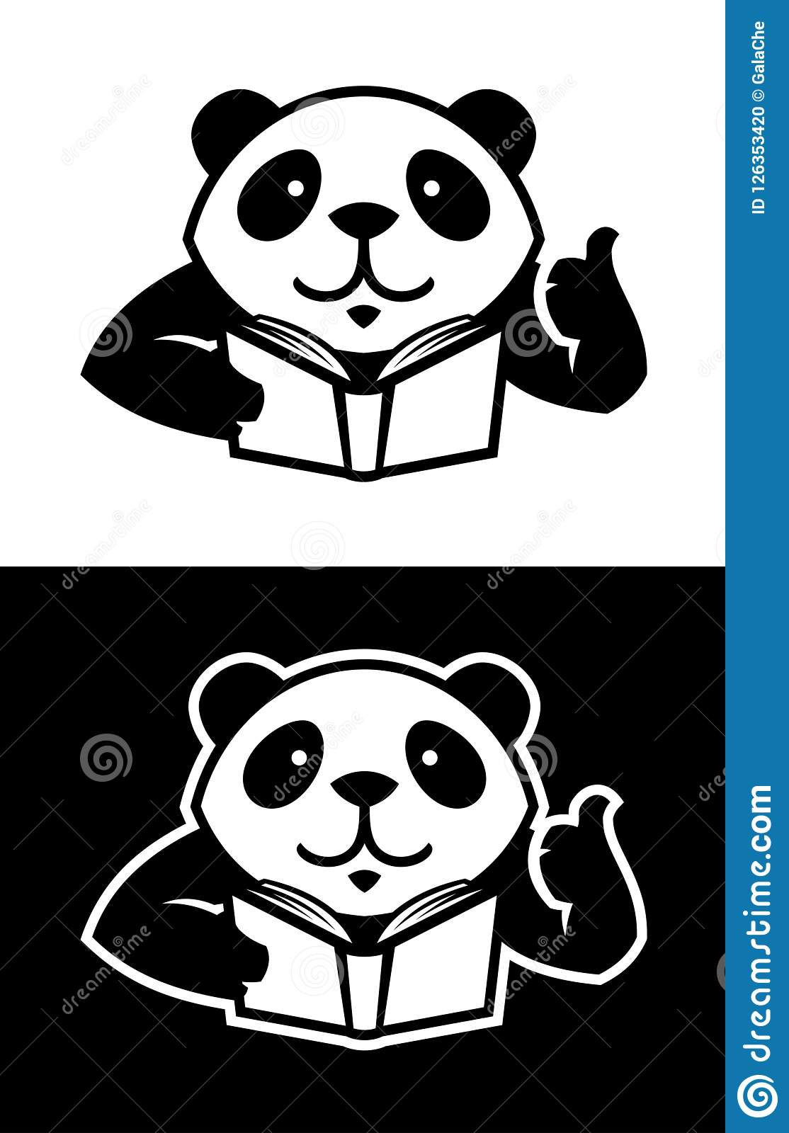 Panda character with book cut out silhouette