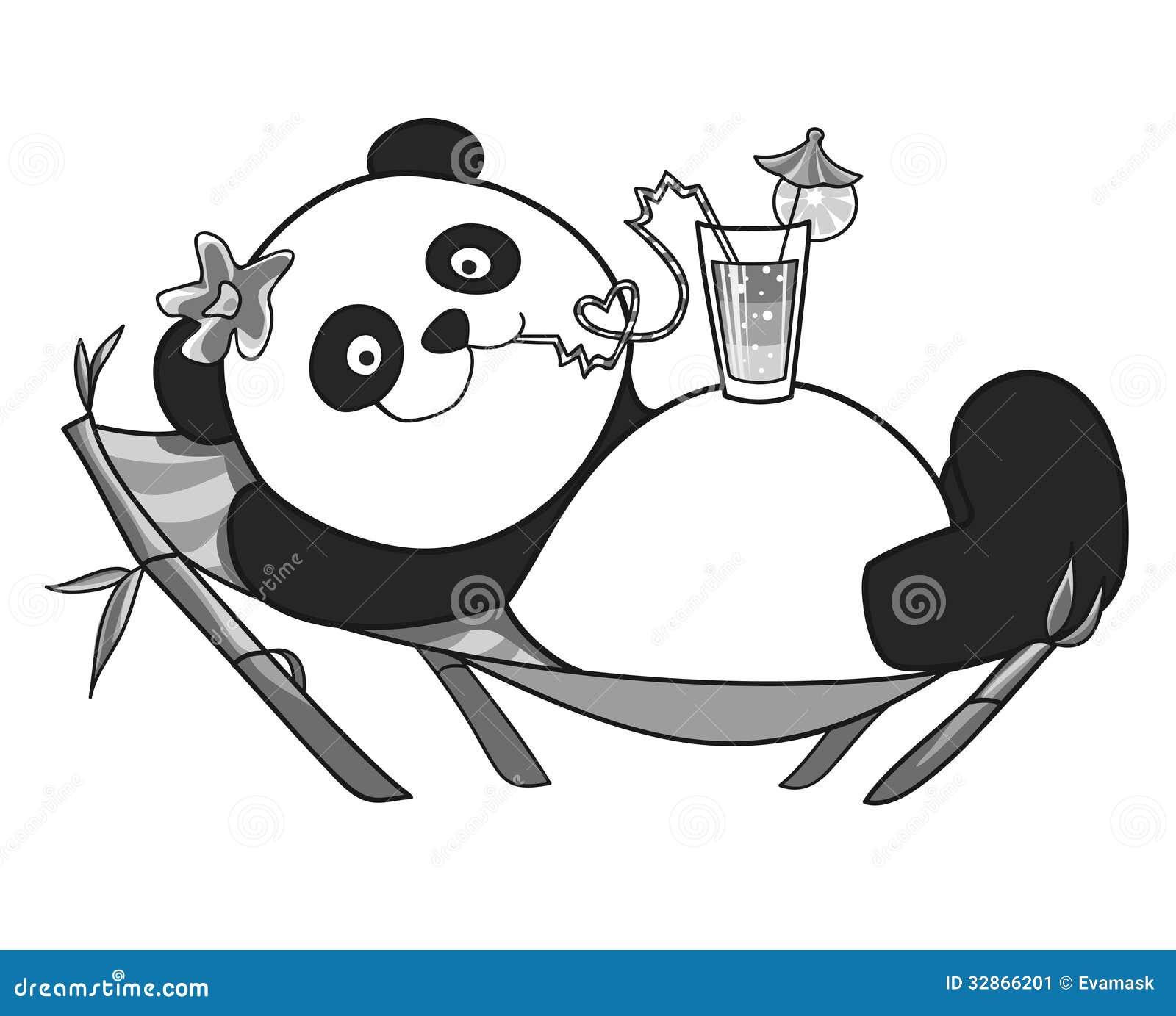 Panda Che Riposa Su Una Chaise lounge Del Sole Immagine Stock Immagine