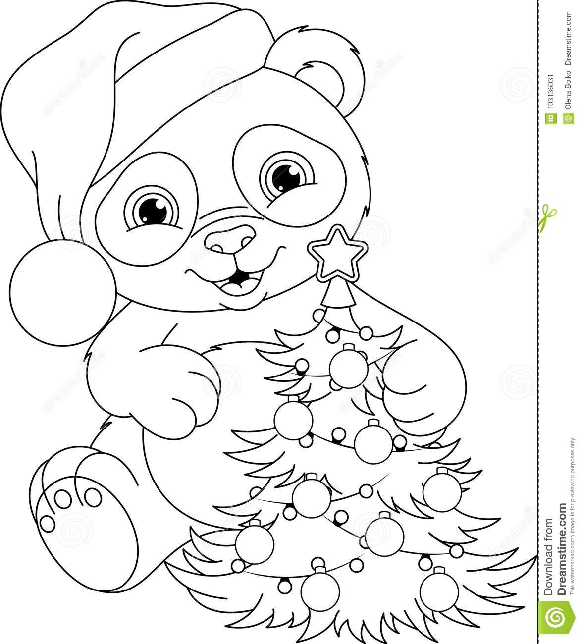 - Panda Christmas Coloring Page Stock Vector - Illustration Of Year