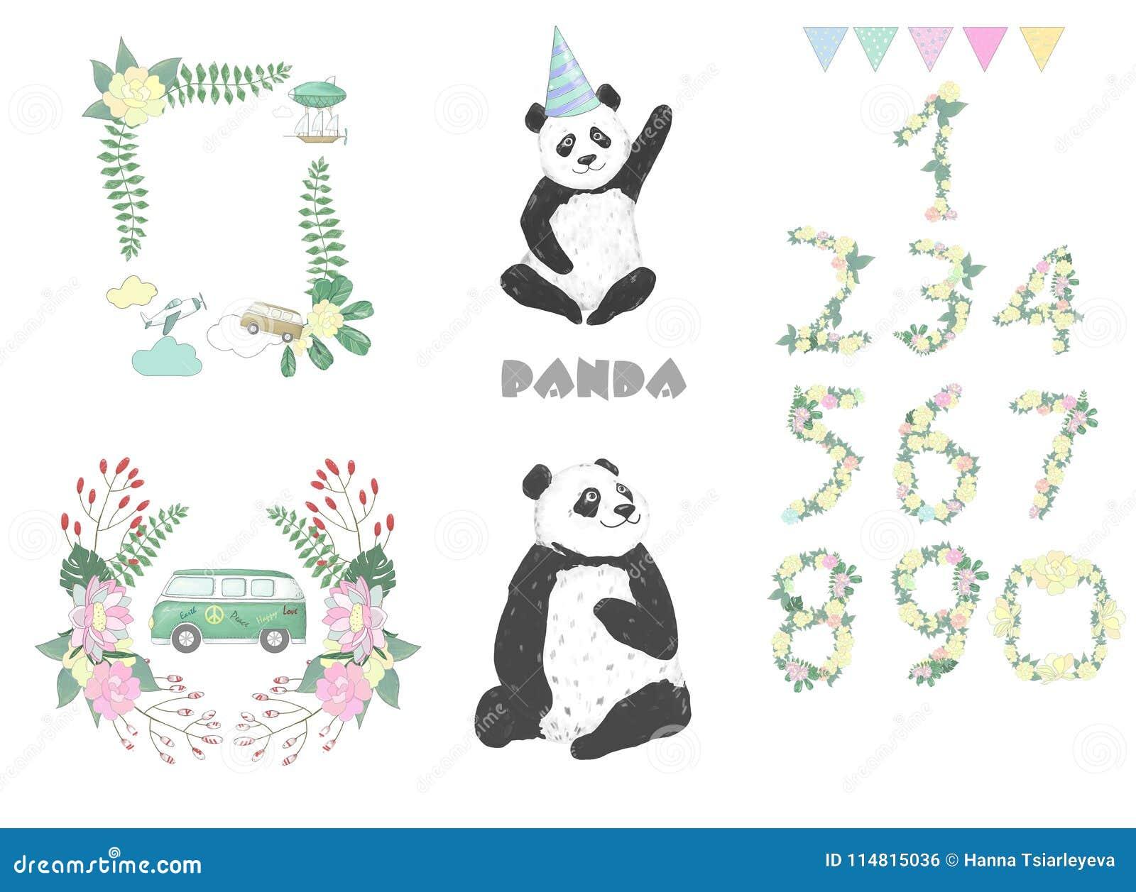 Panda Clip Art Drawing Animal Illustration On White Background Cute Animal Celebration Card Stock Illustration Illustration Of Image Cartoon 114815036