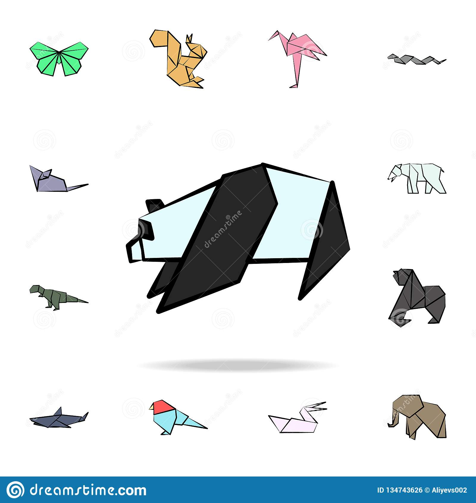 panda colored origami icon. Detailed set of origami animal in hand drawn style icons. Premium graphic design. One of the